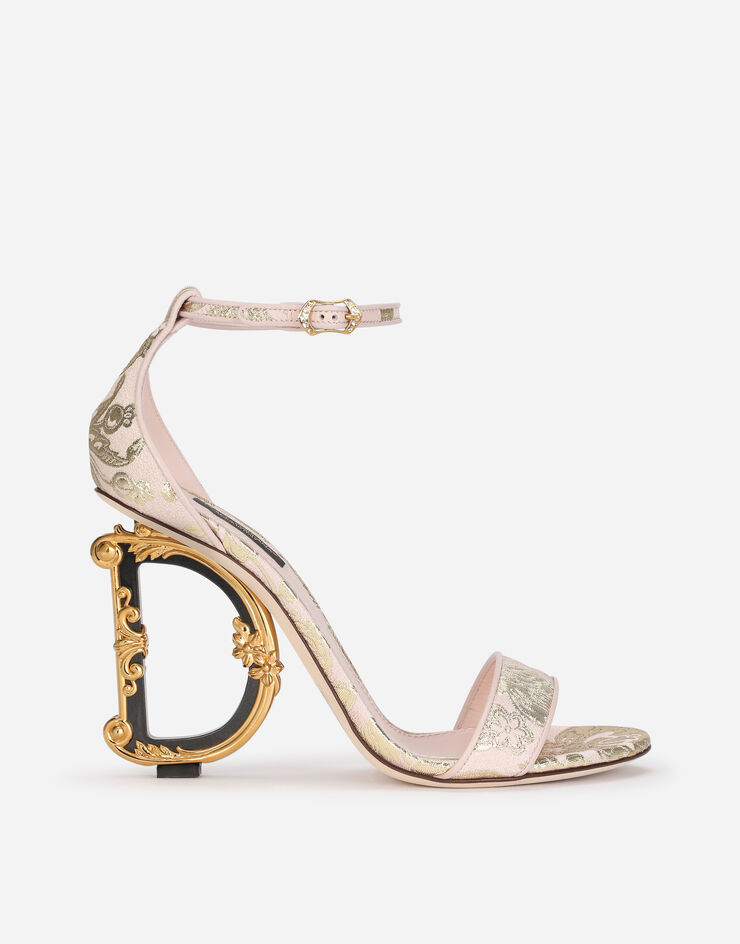 Nappa mordore sandals with baroque DG heel