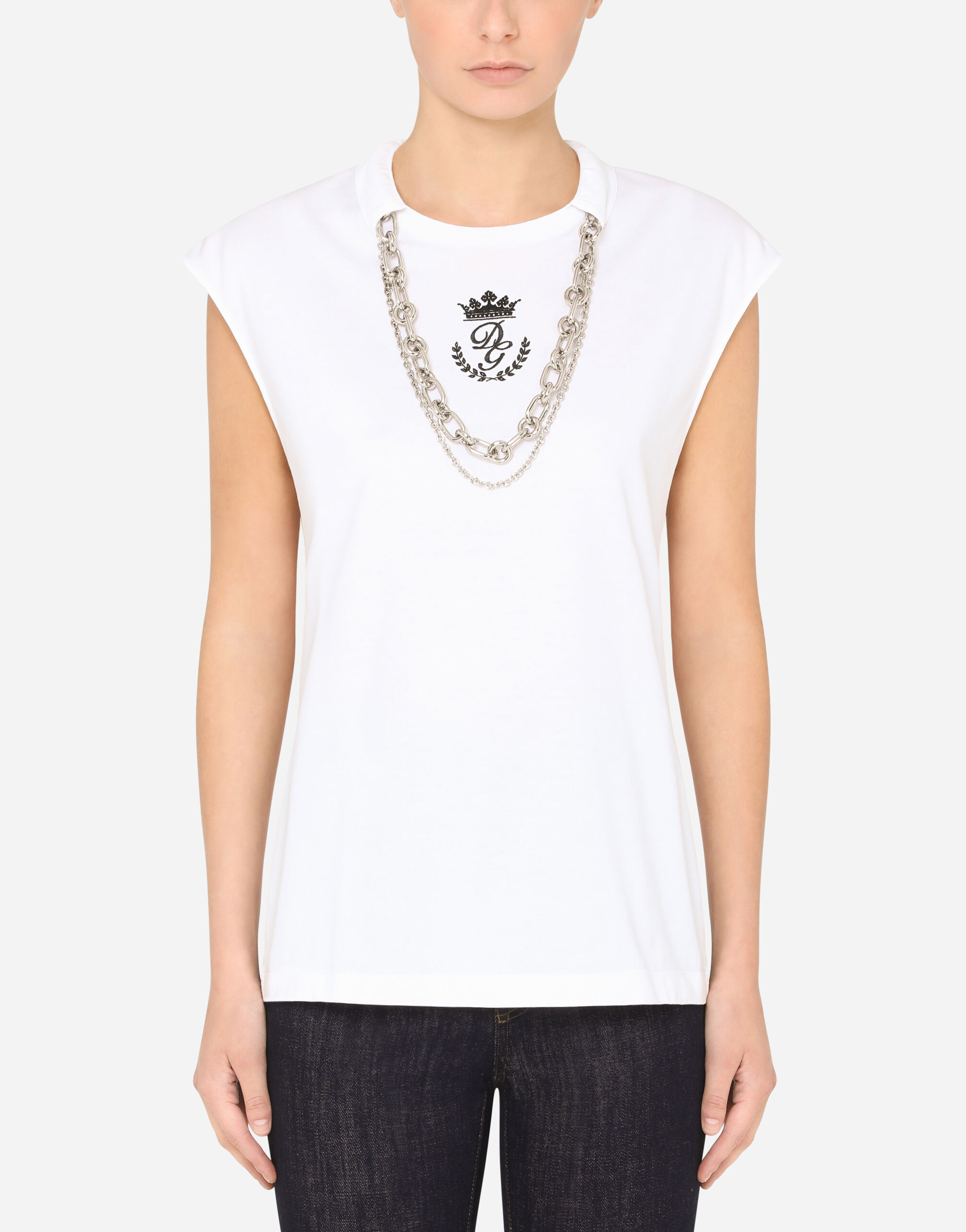T-SHIRT IN JERSEY CON COLLANE