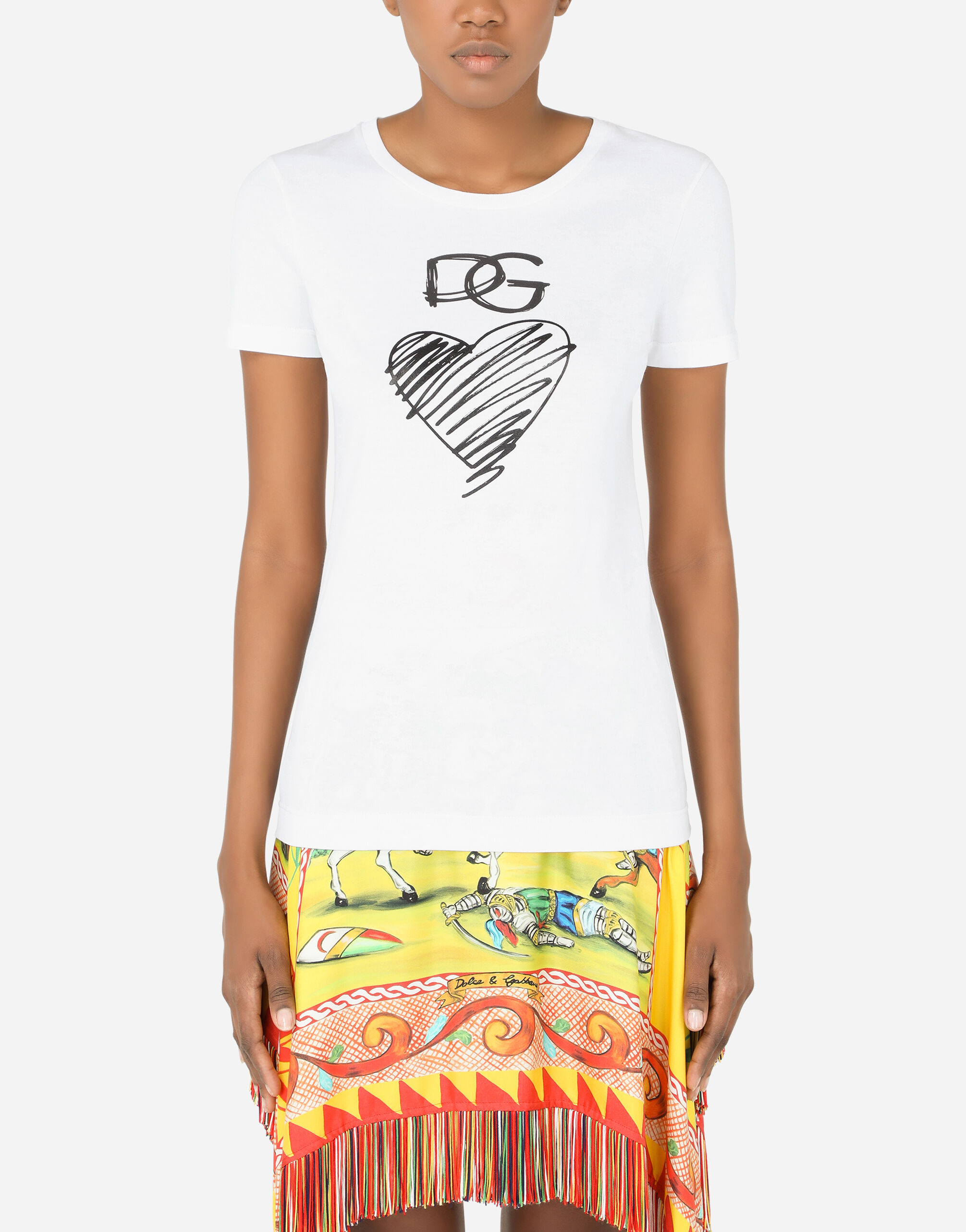T-shirt in jersey con stampa cuore e DG