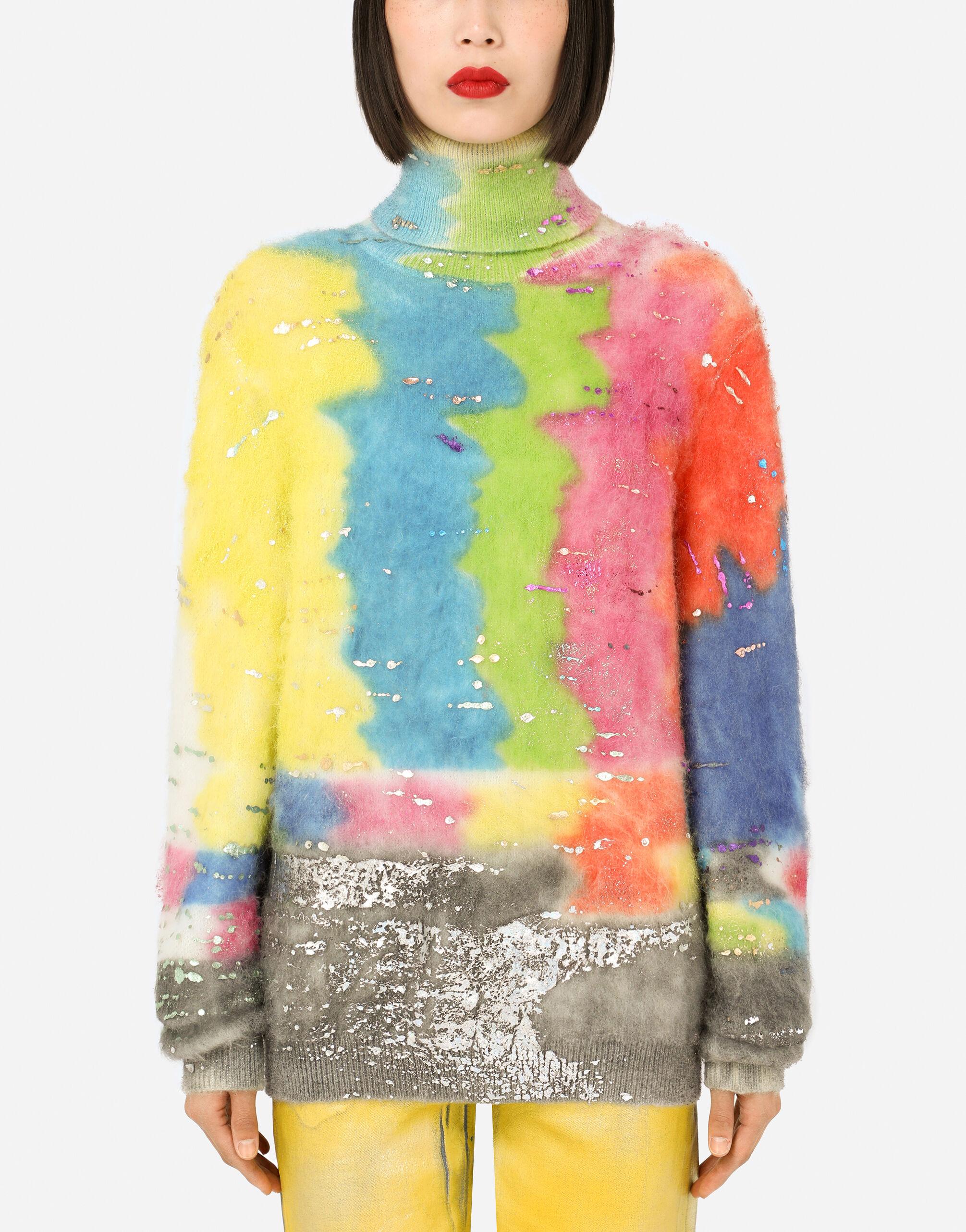 Maglia collo alto multicolor glitch