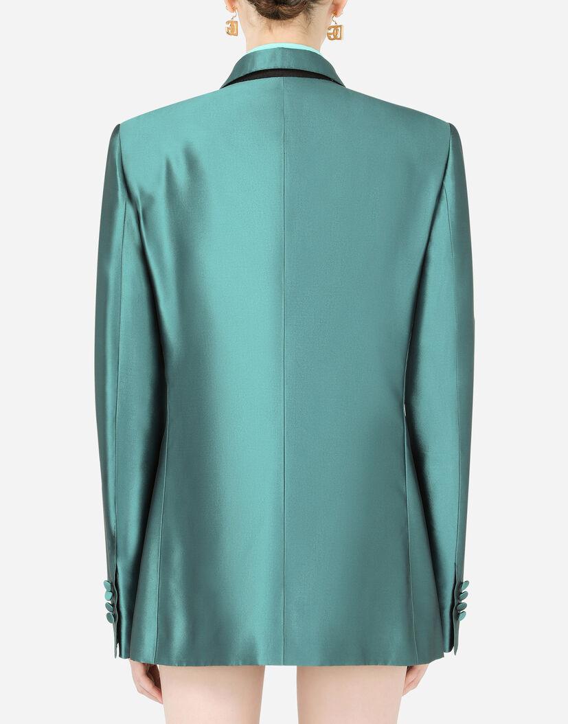 Blazer Fur Damen Dolce Gabbana Zweireihige Jacke Aus Mikado