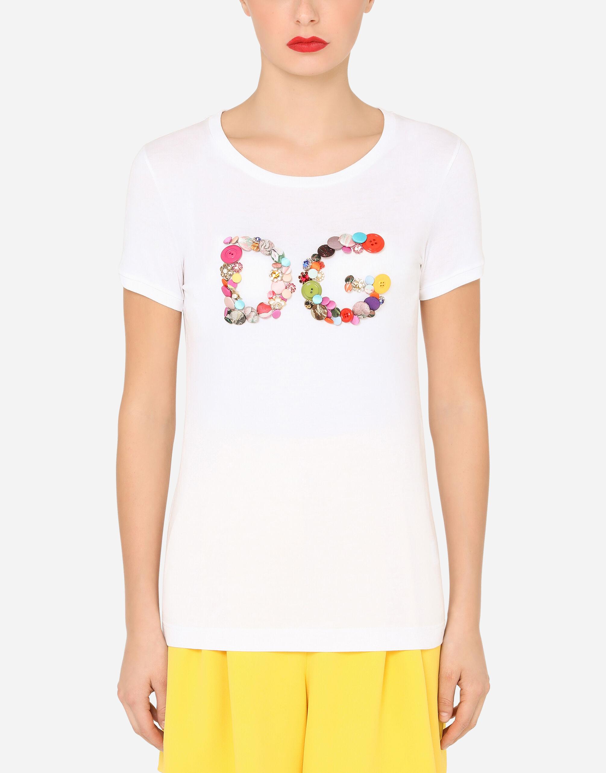 T-shirt maniche corte in jersey con ricamo DG bottoni