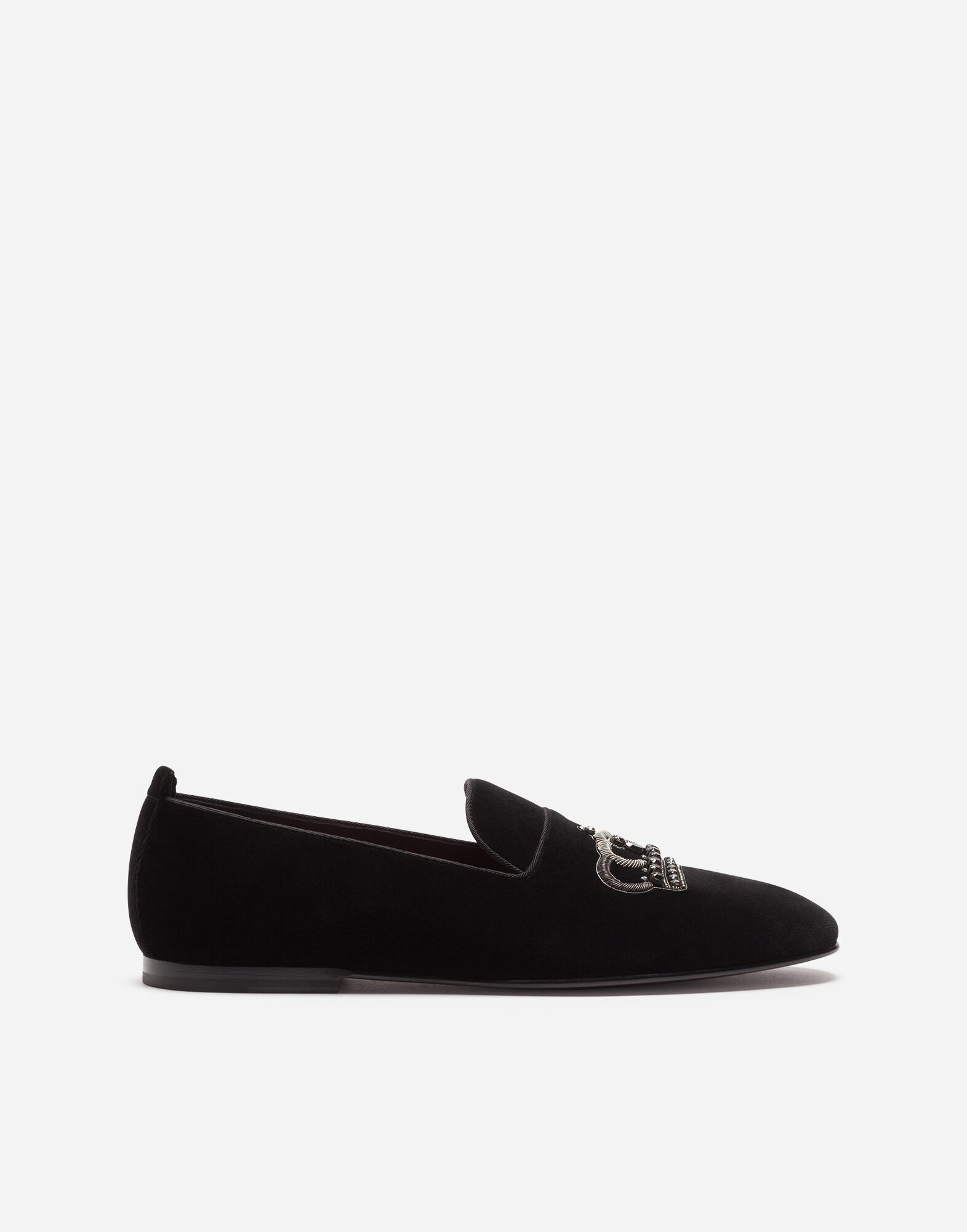 VELVET SLIPPERS WITH CROWN EMBROIDERY