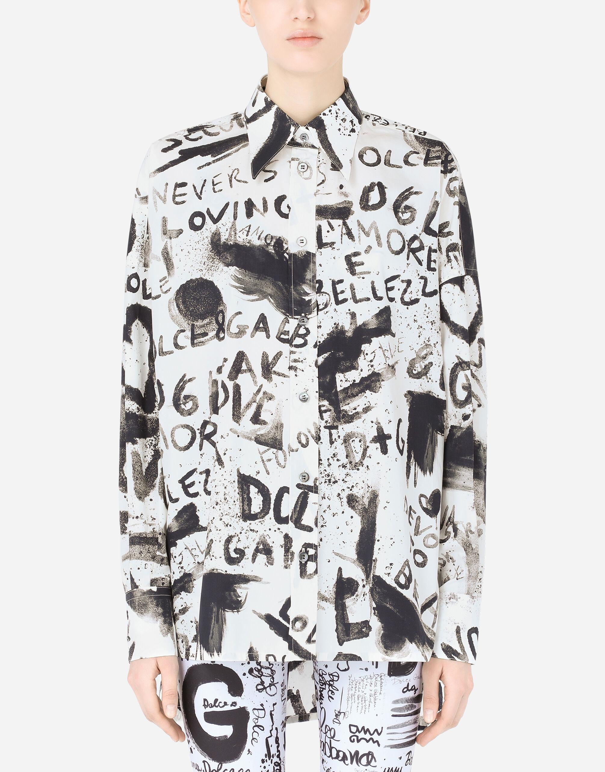 Camicia in popeline stampa DG graffiti