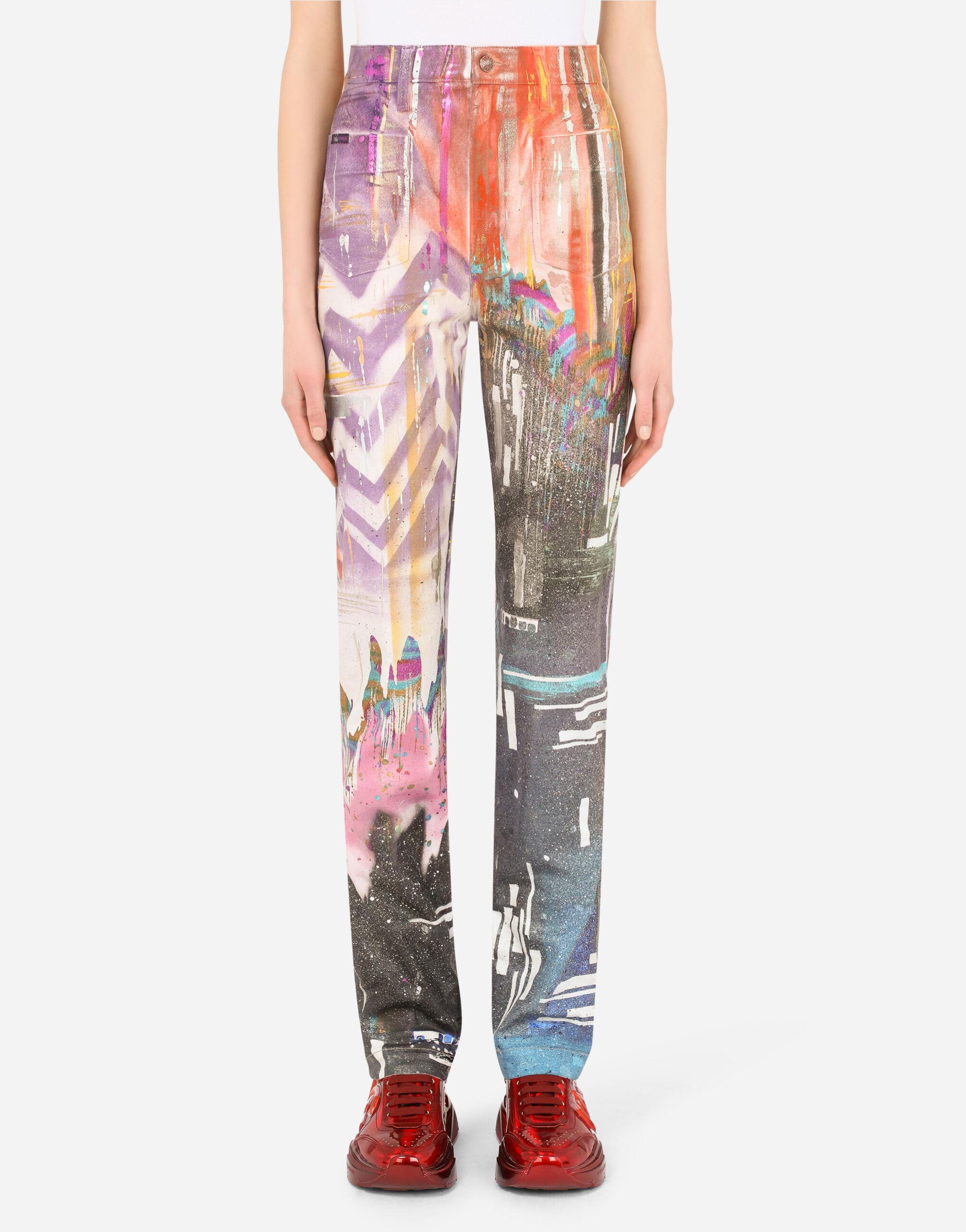 Jeans flare in denim laminato multicolor glitch
