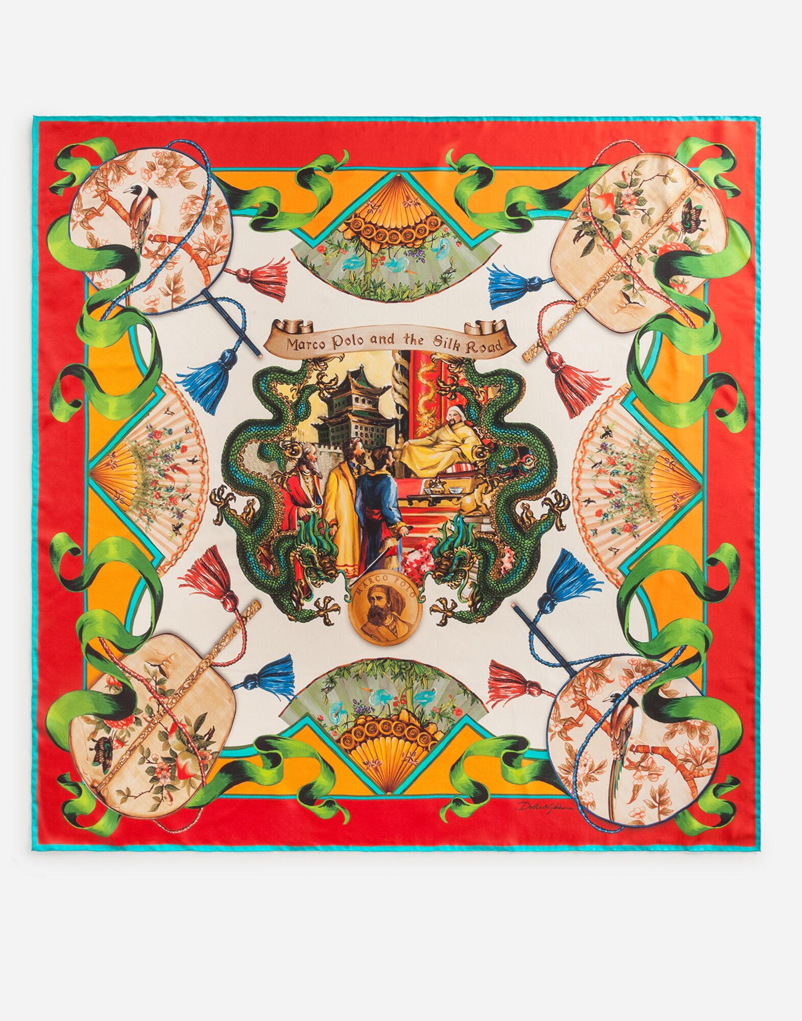 Foulard 90 x 90 in twill di seta stampa Via della seta