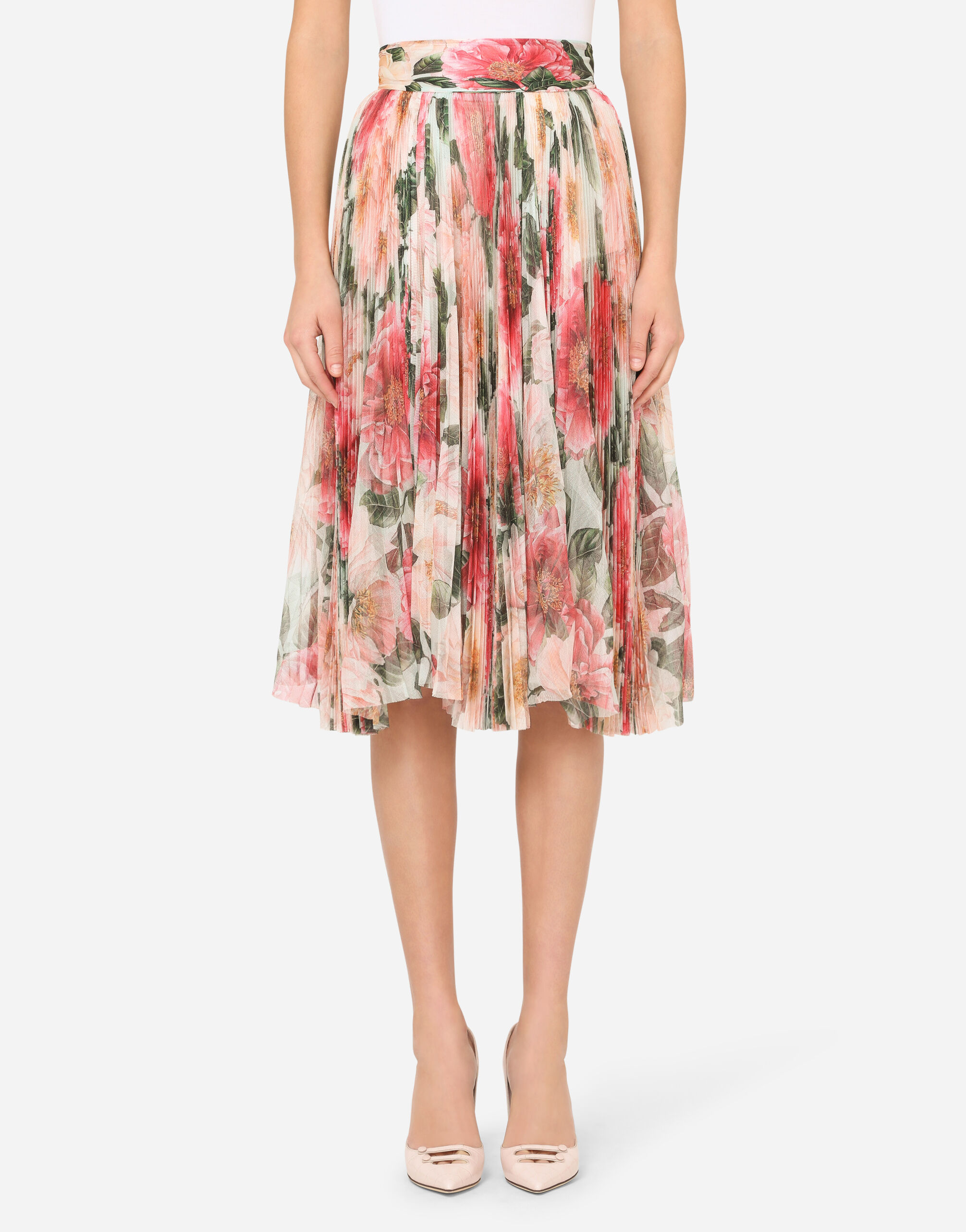 GONNA PLISSÉ MIDI IN TULLE STAMPA CAMELIE