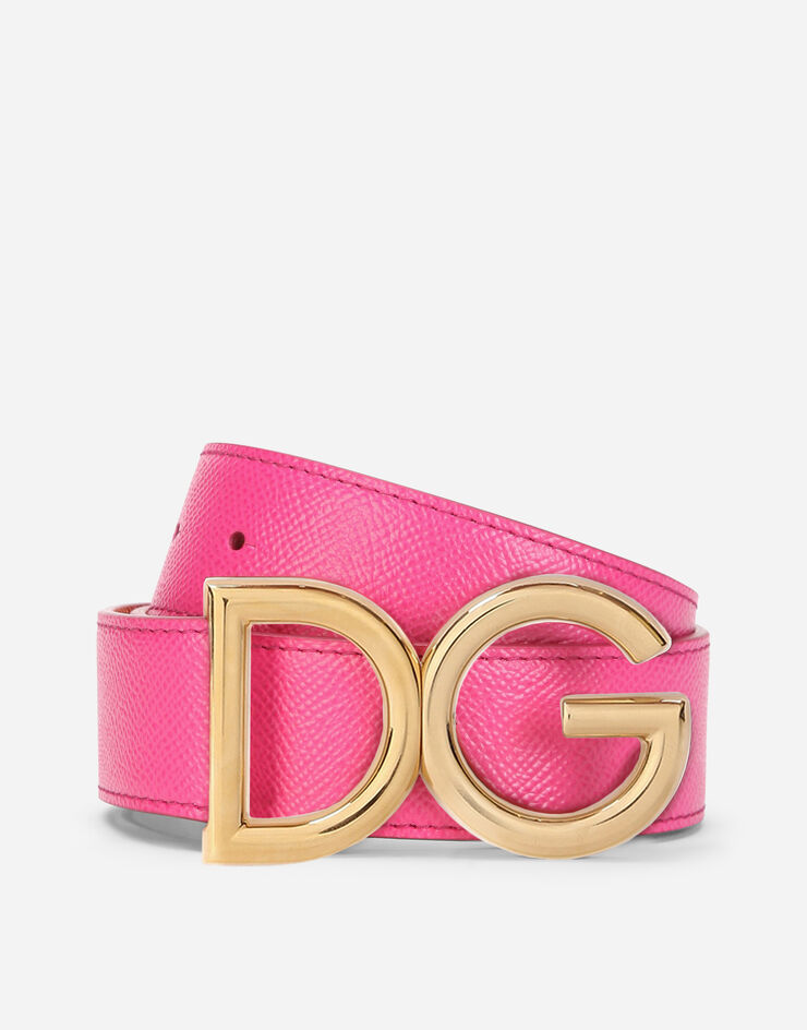 Reversible dauphine calfskin belt with DG logo