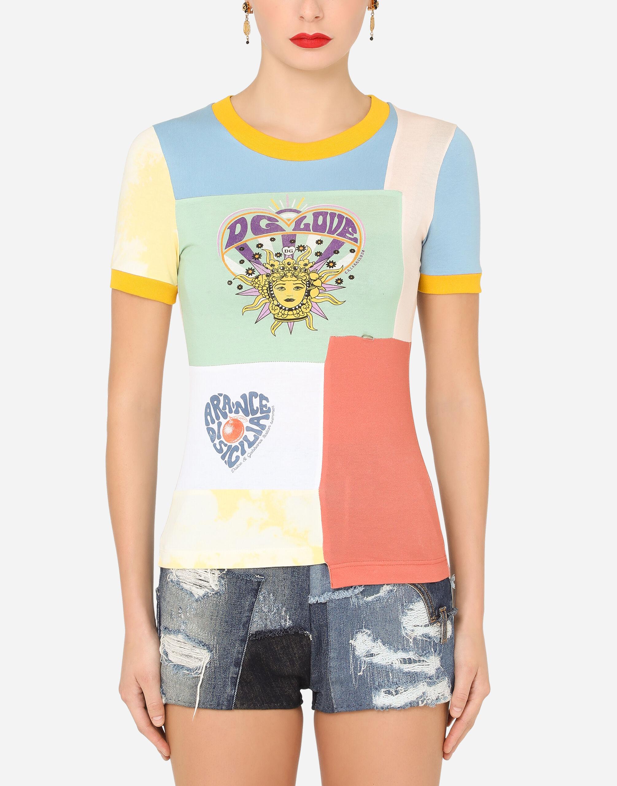 T-shirt maniche corte in jersey patchwork