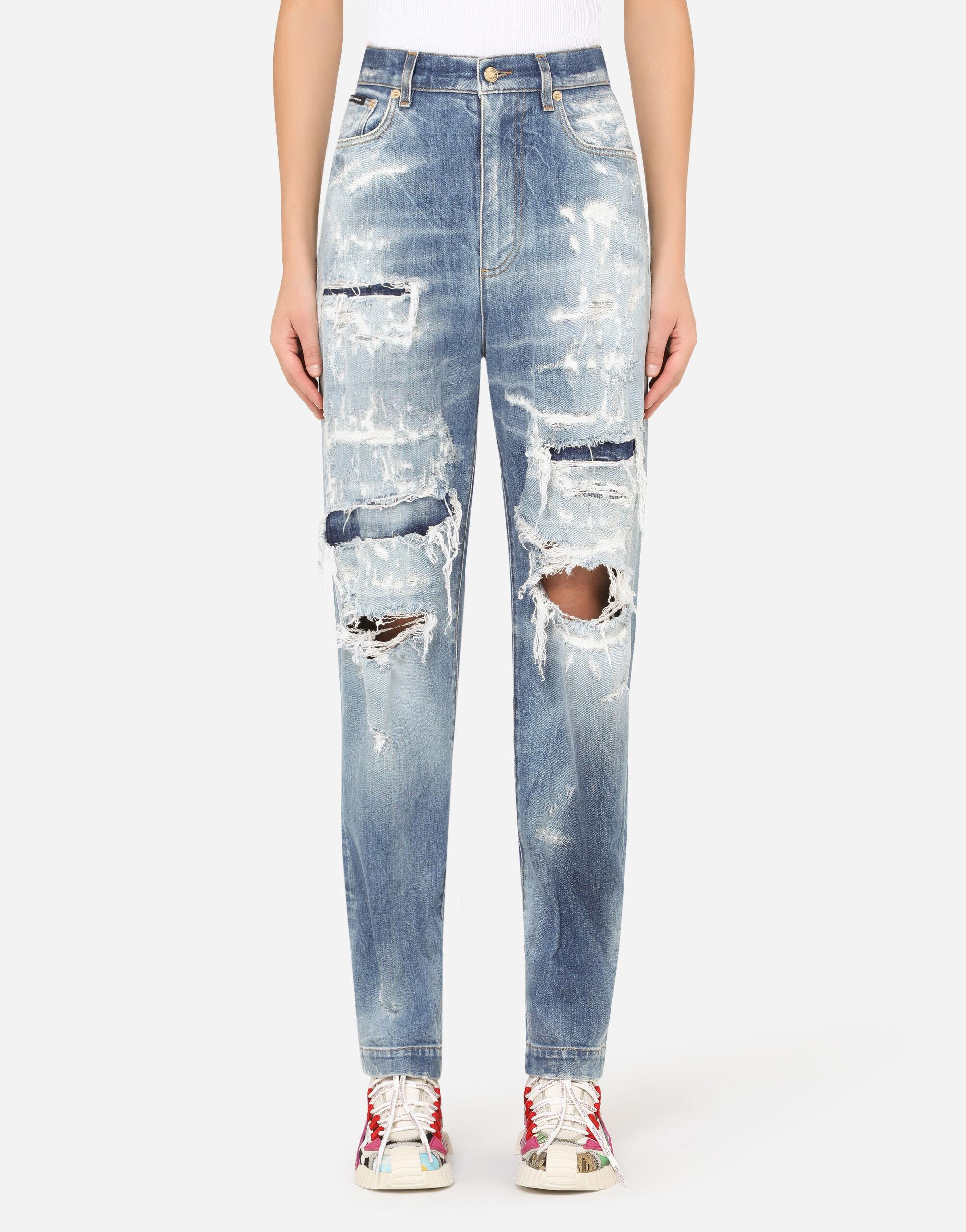 Jeans amber con inserti in jacquard