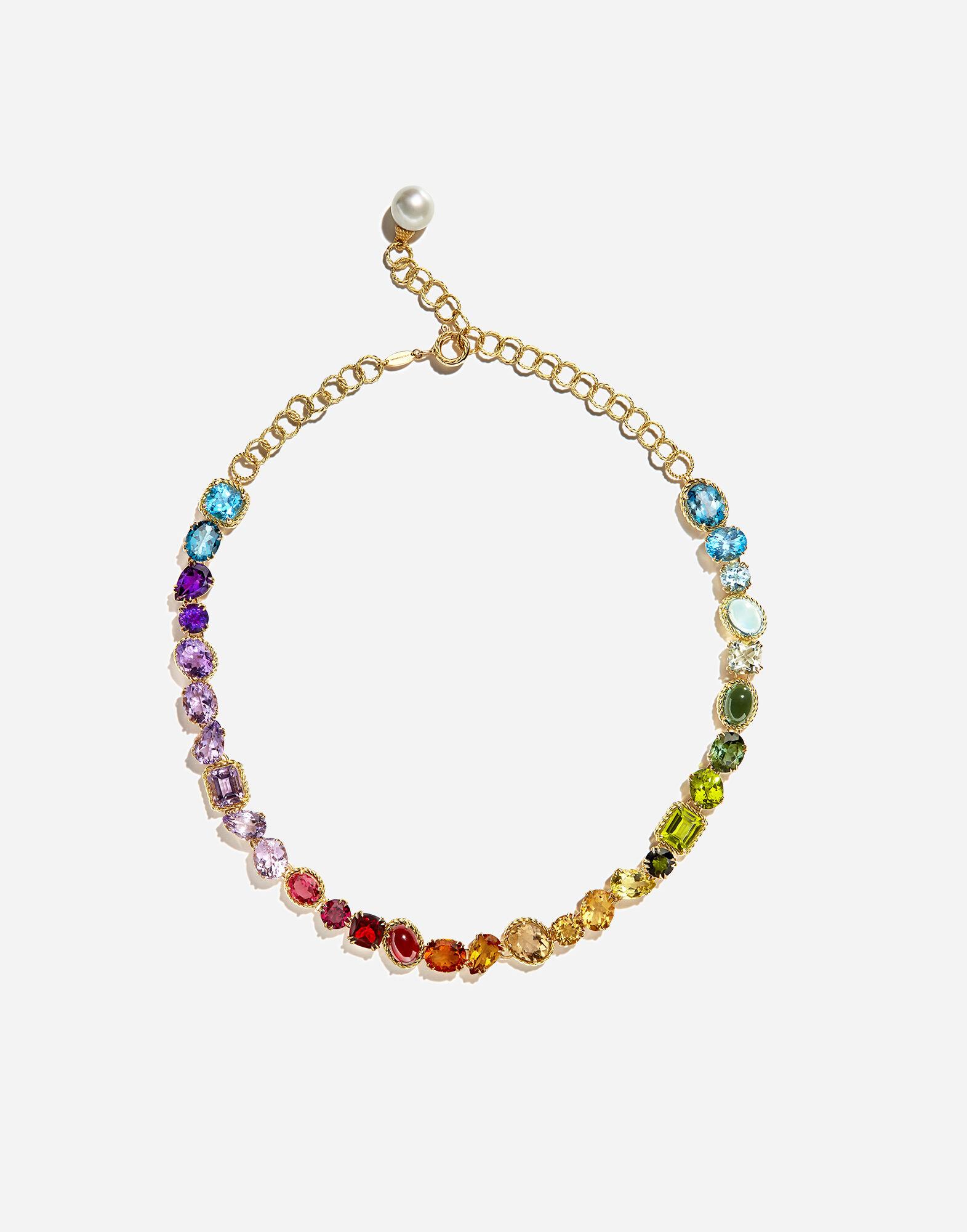 Collana con gemme multicolore