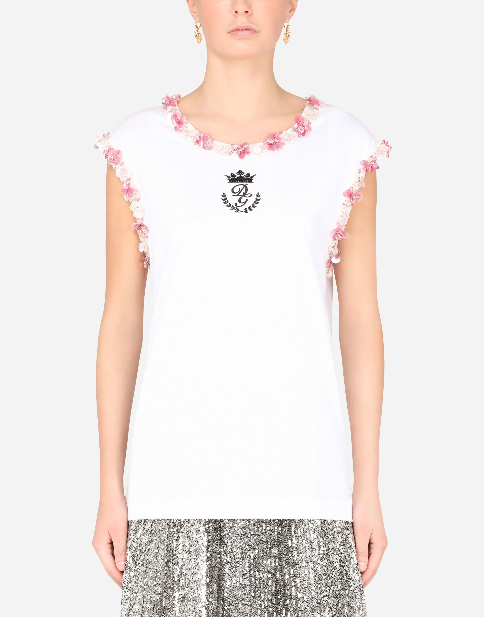 T-shirt in jersey con ricami