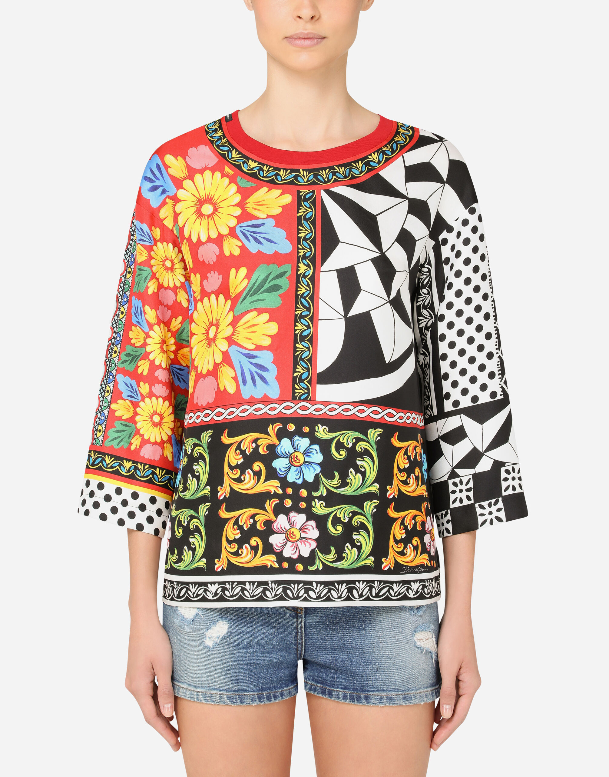 Blusa in twill stampa patchwork