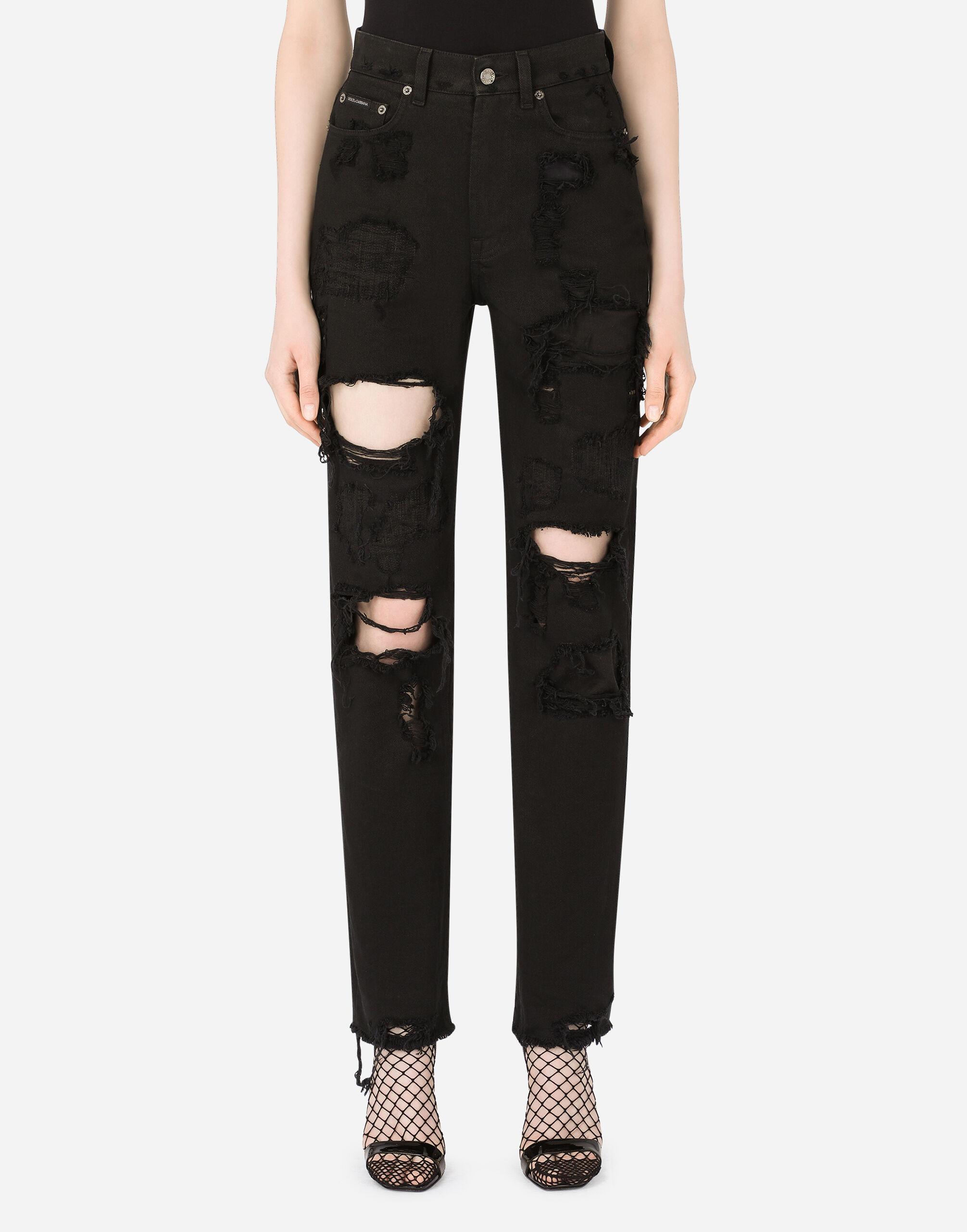 Jeans boyfriend in denim con rotture