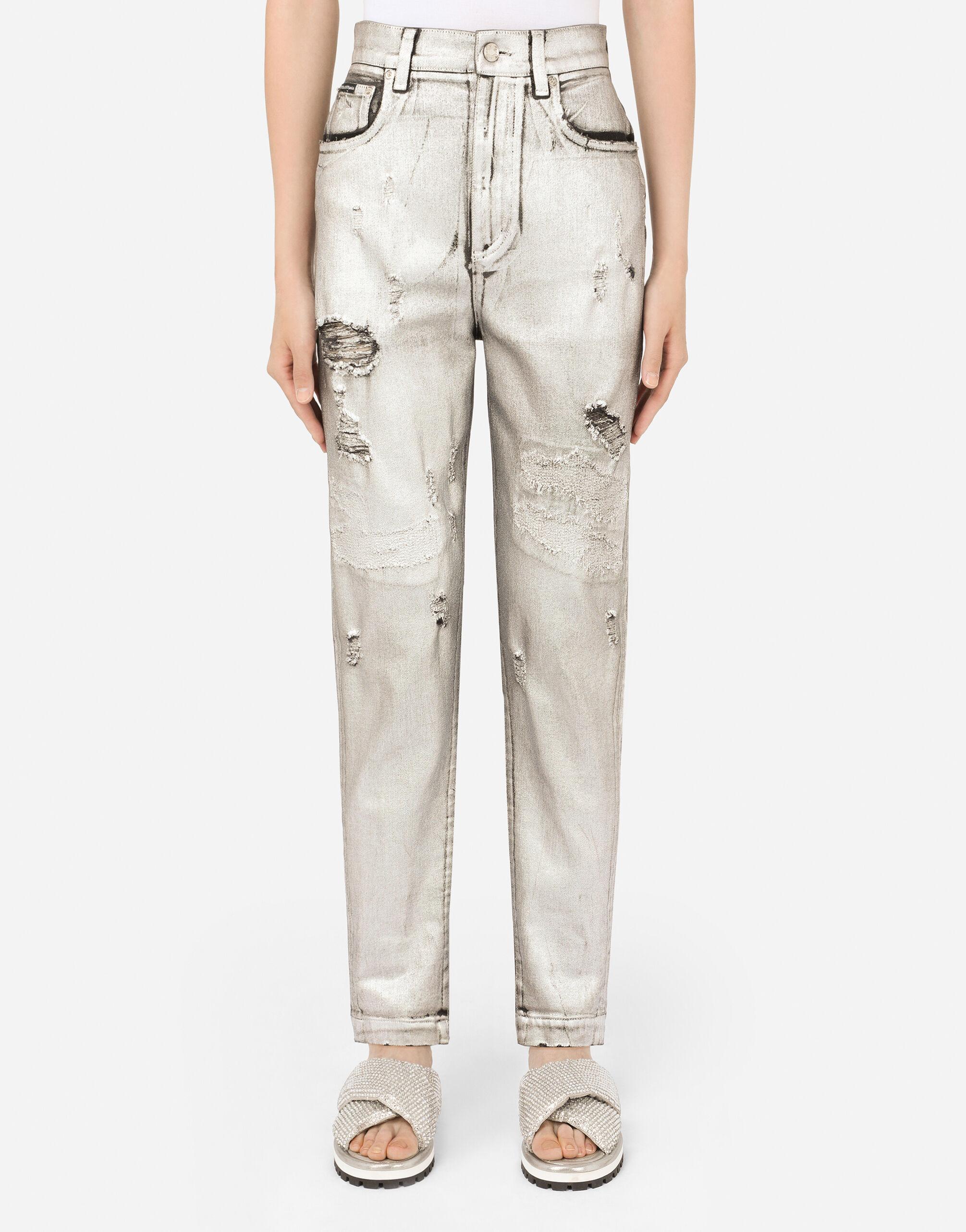 Jeans in denim laminato