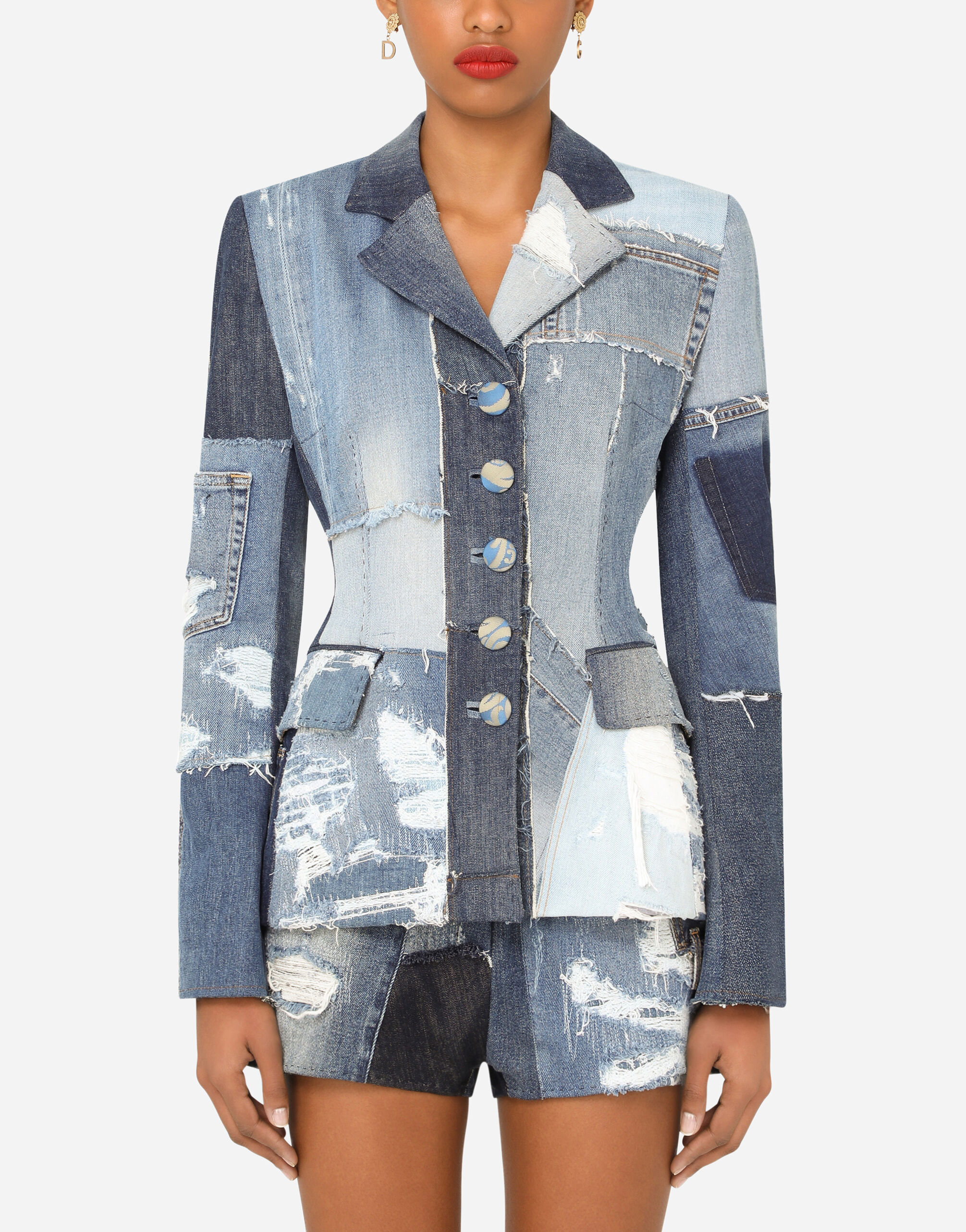Giacca Dolce monopetto denim patchwork