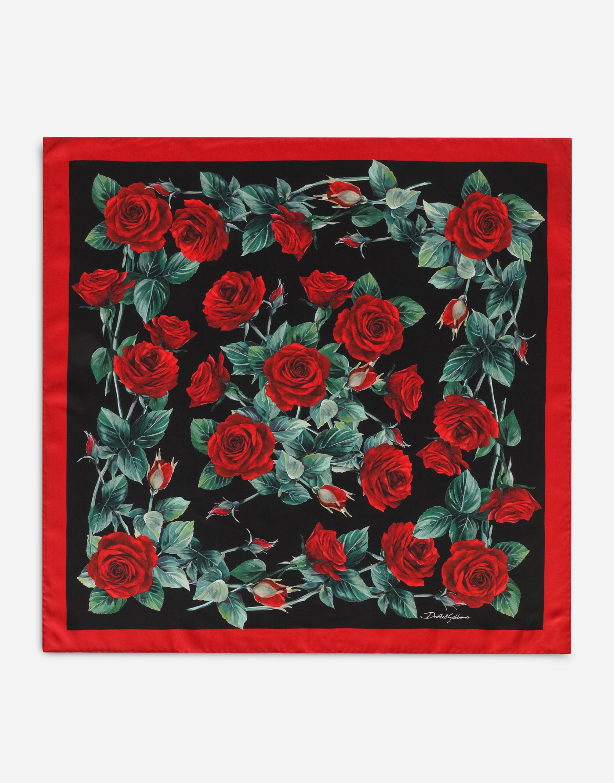 Foulard 70 x 70 in twill stampa rose