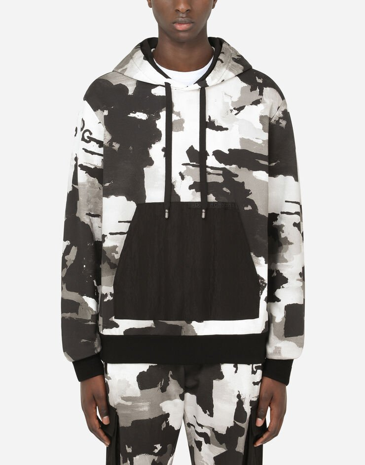 Dolce & Gabbana CAMOUFLAGE-PRINT HOODIE WITH PATCH