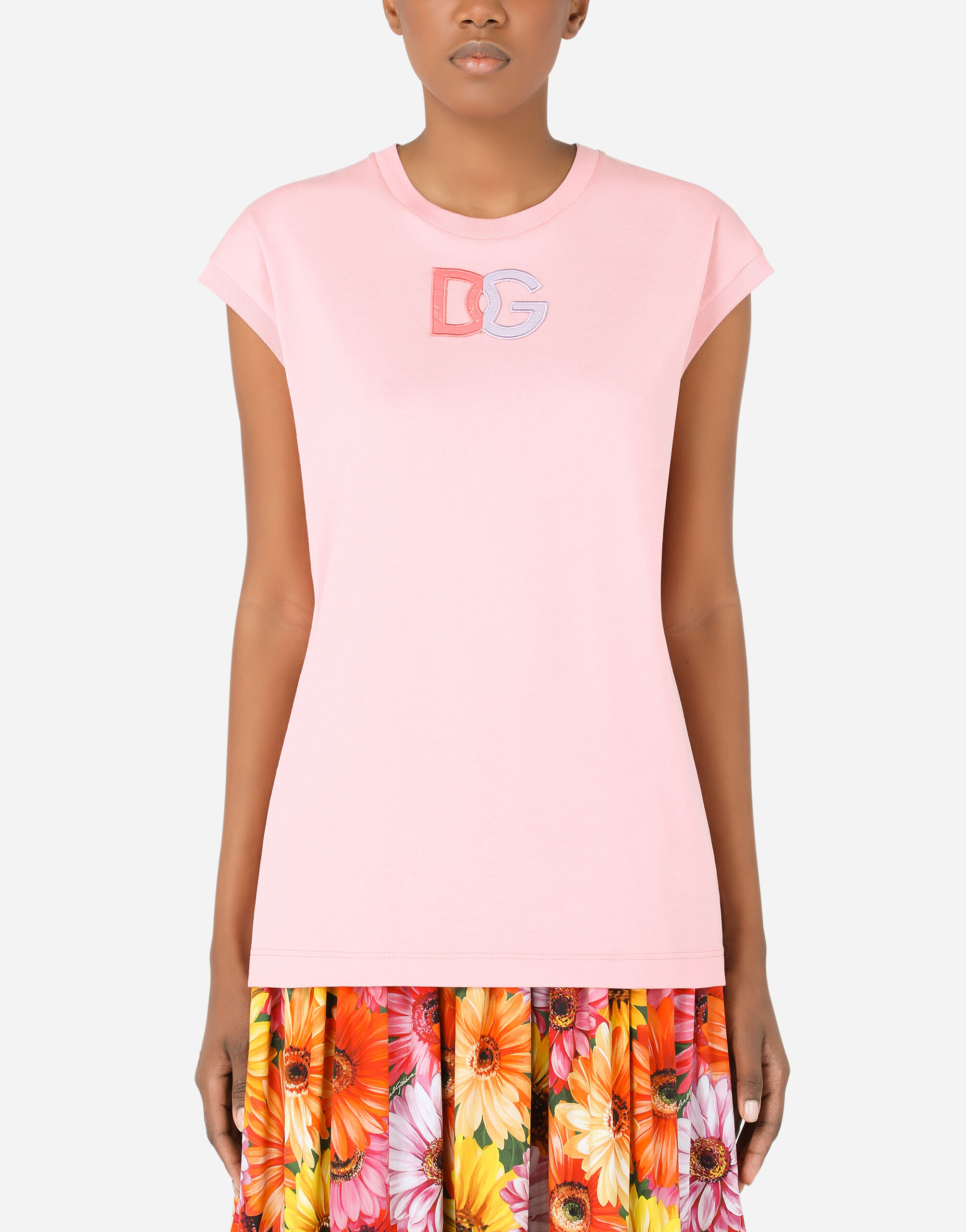 T-shirt in jersey con patch dolce & gabbana in vernice