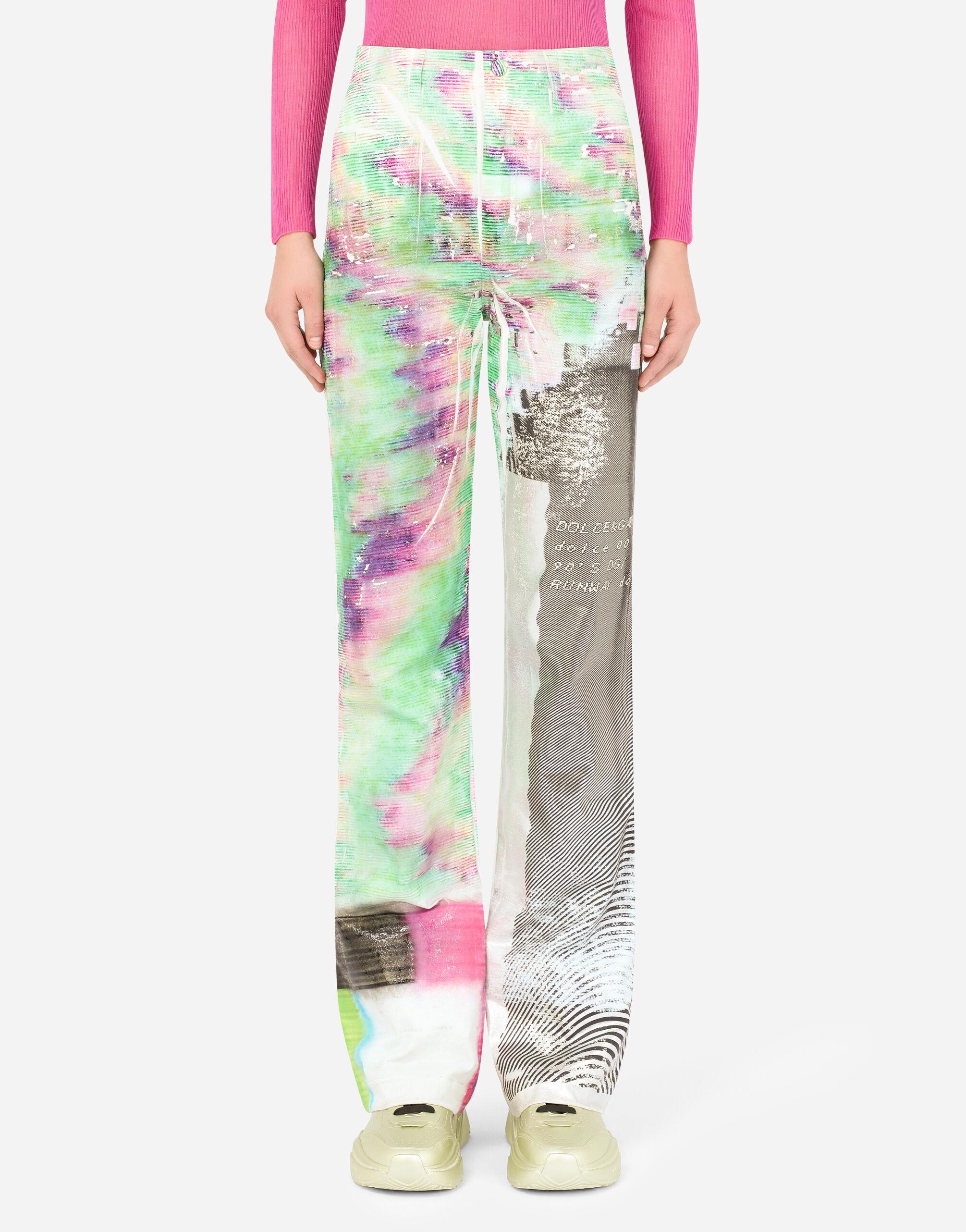 Jeans flare stampa multicolor glitch laminata