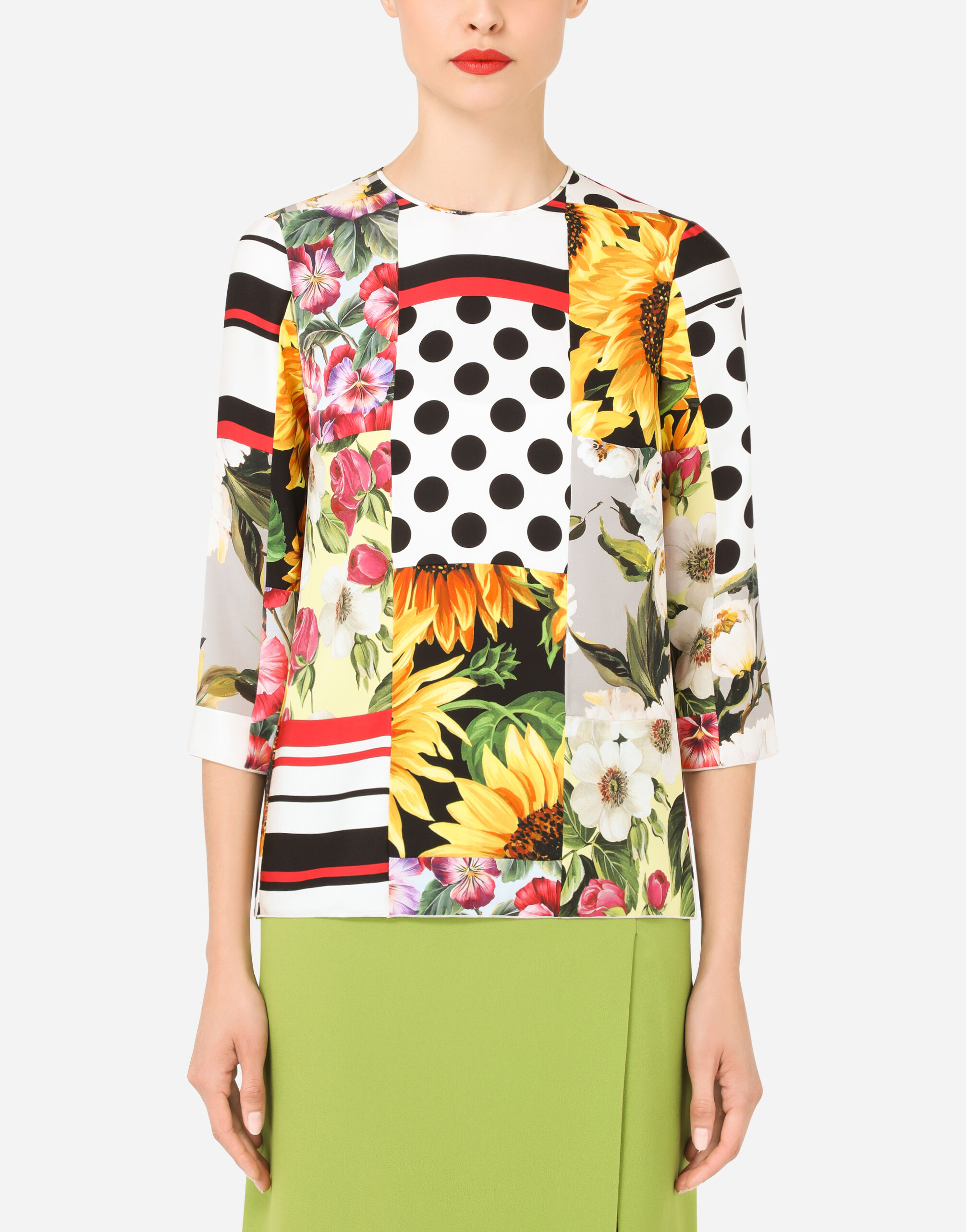 Blusa in charmeuse patchwork