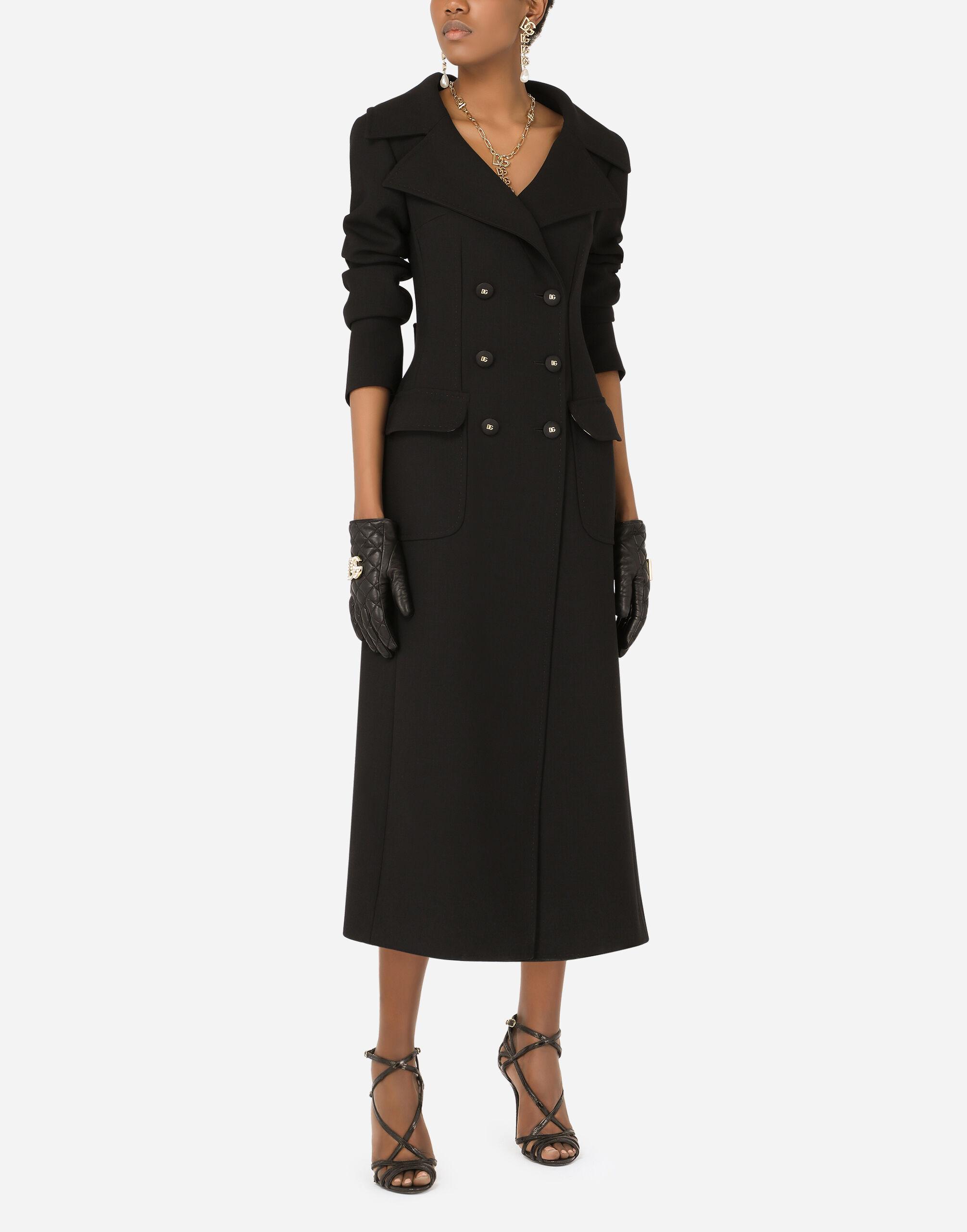 Cappotto doppiopetto in lana con bottoni DG