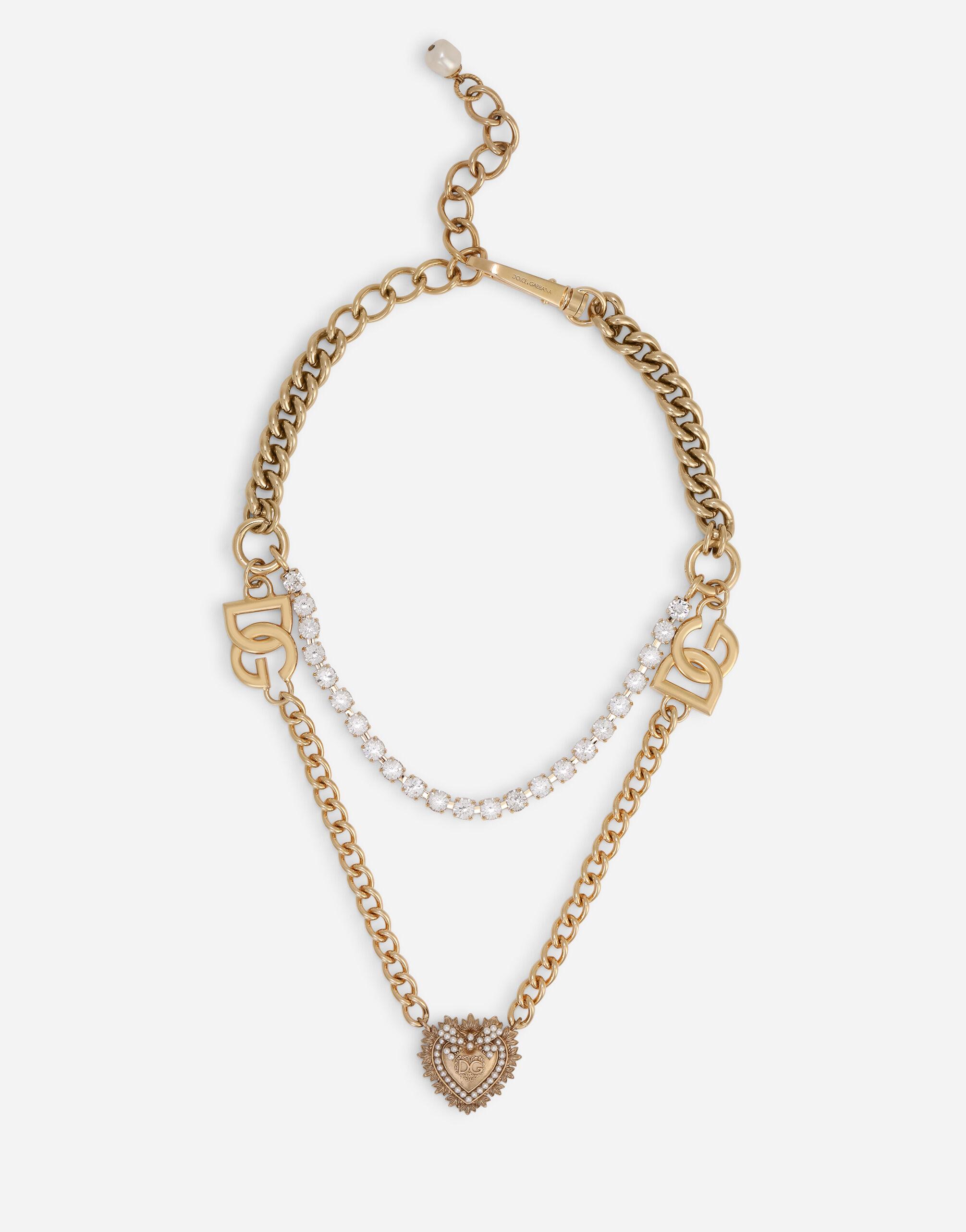Collana doppia catena con pendente sacro cuore