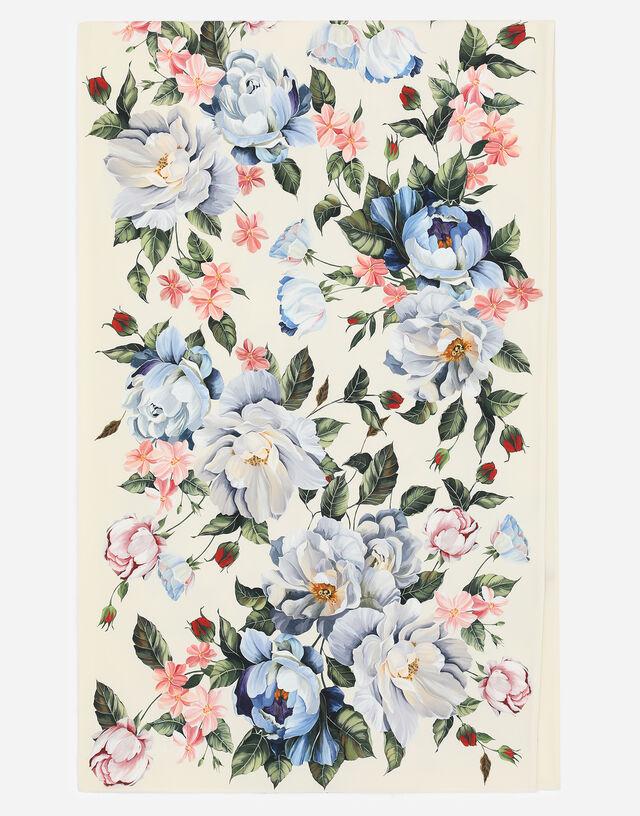 Magnolia-print silk twill foulard (70 x 220)
