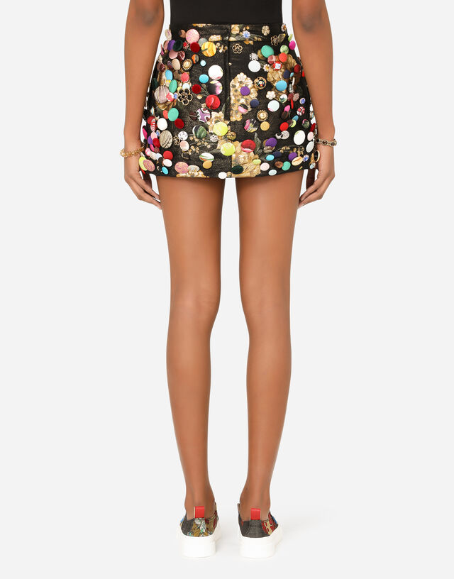Jacquard miniskirt with all-over bejeweled buttons