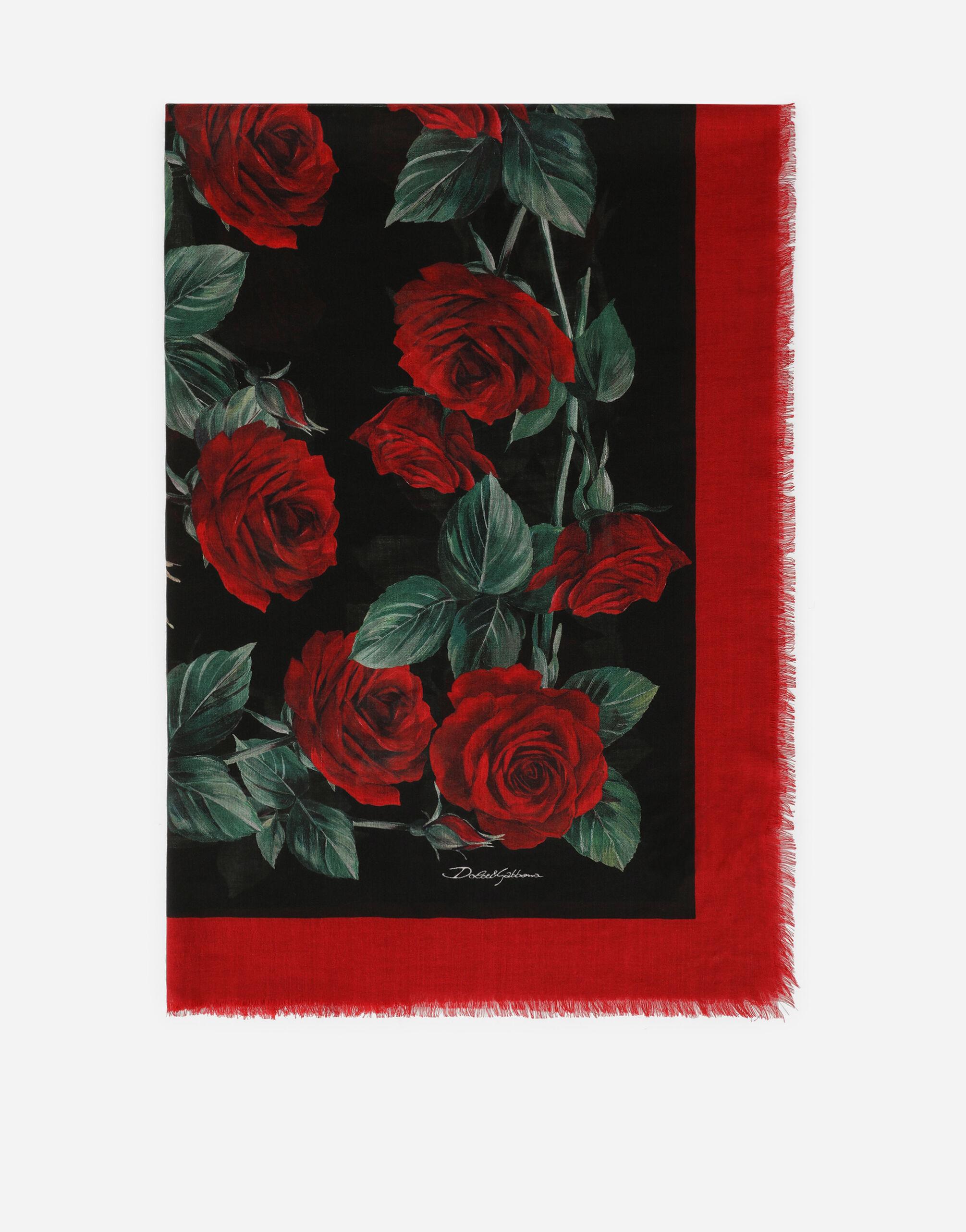 Foulard 140 x 140 in cashmere e seta stampa rose