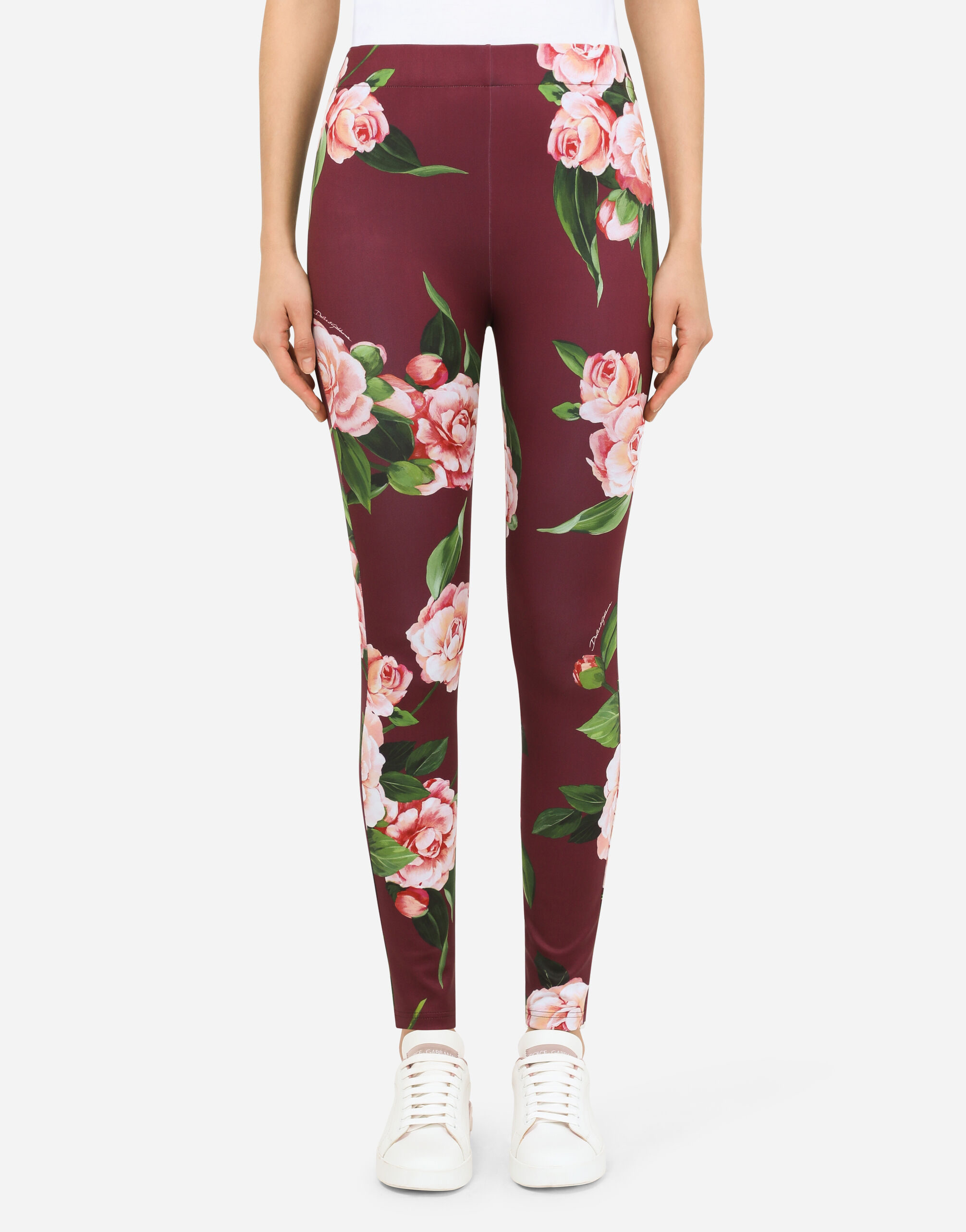 Leggings in jersey indemagliabile stampa camelie