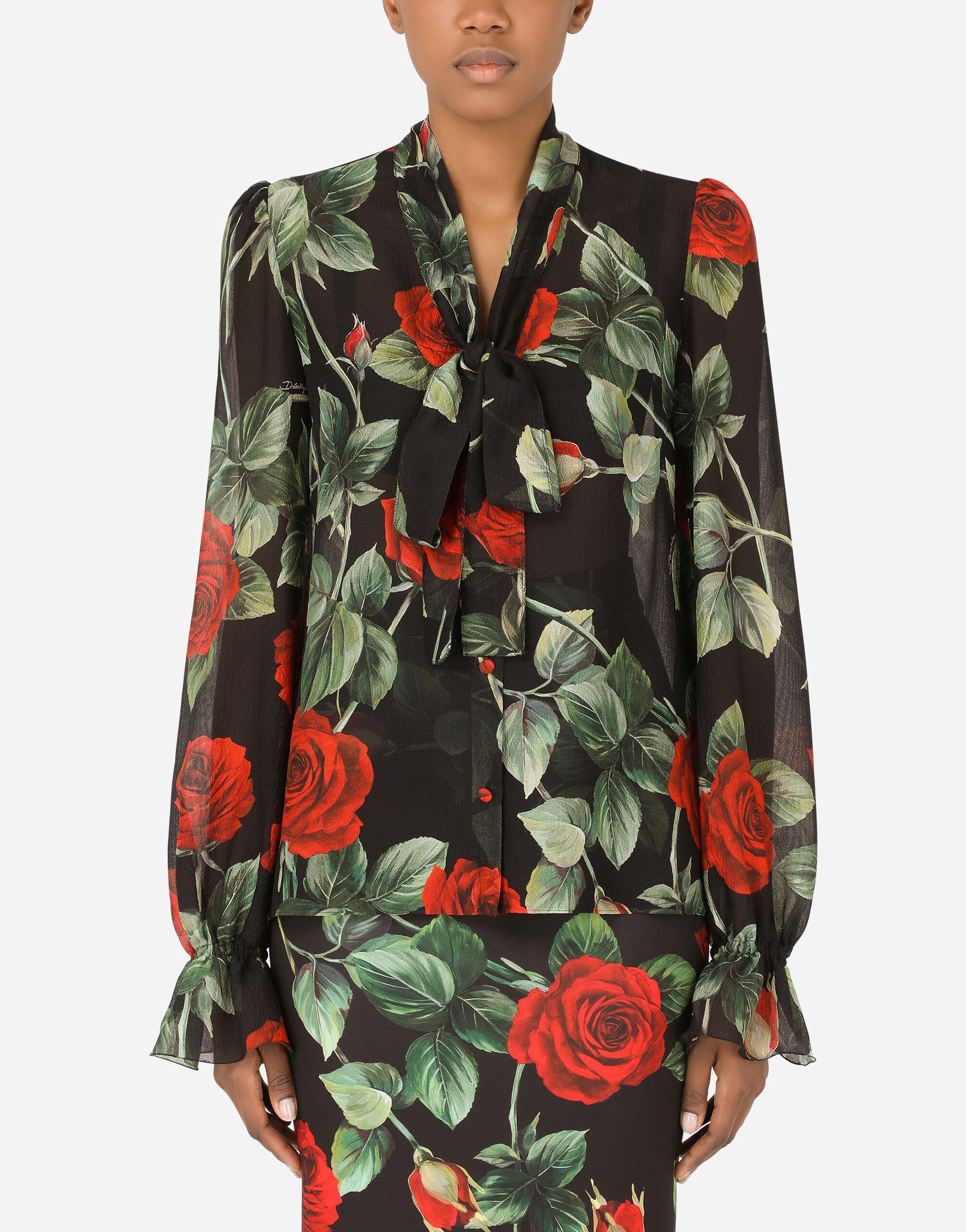 Camicia in chiffon armaturato stampa rose con fiocco