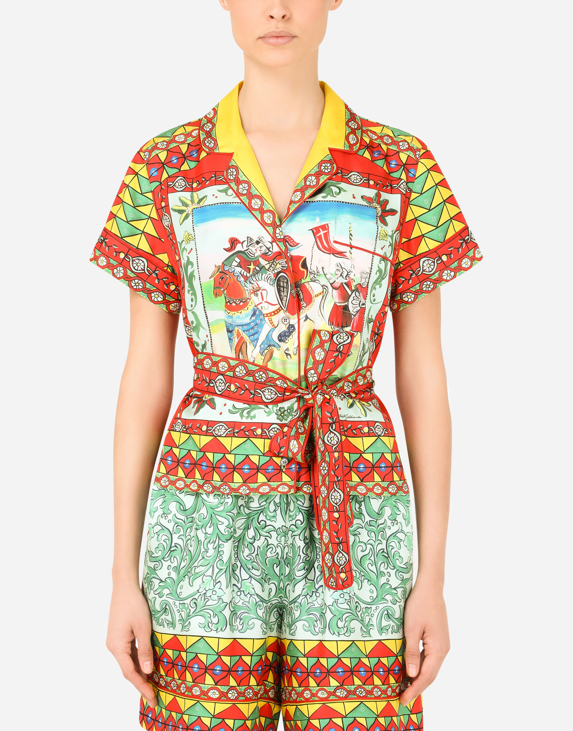 Camicia in twill stampa carretto con cintura