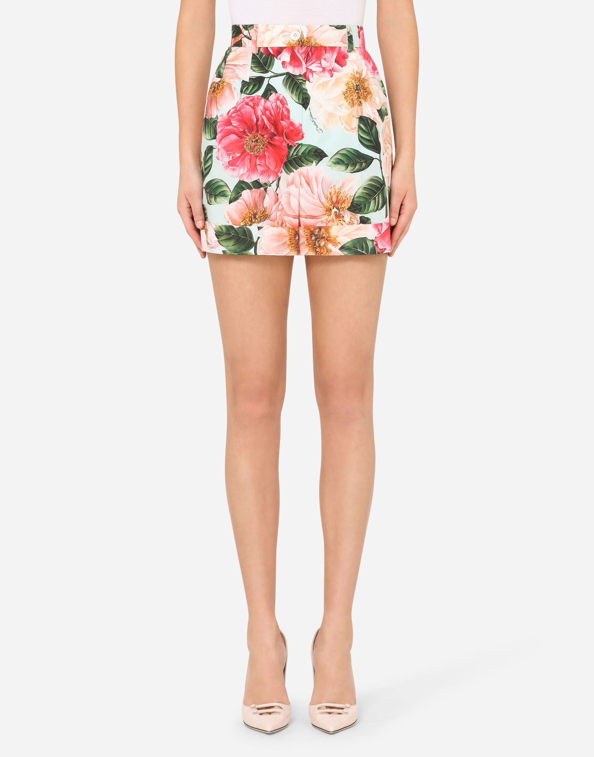 Shorts in popeline stampa camelie