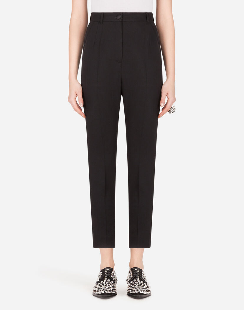 Pantalones Mujer Dolce Gabbana Pantalones Talle Alto De Tela De Lana