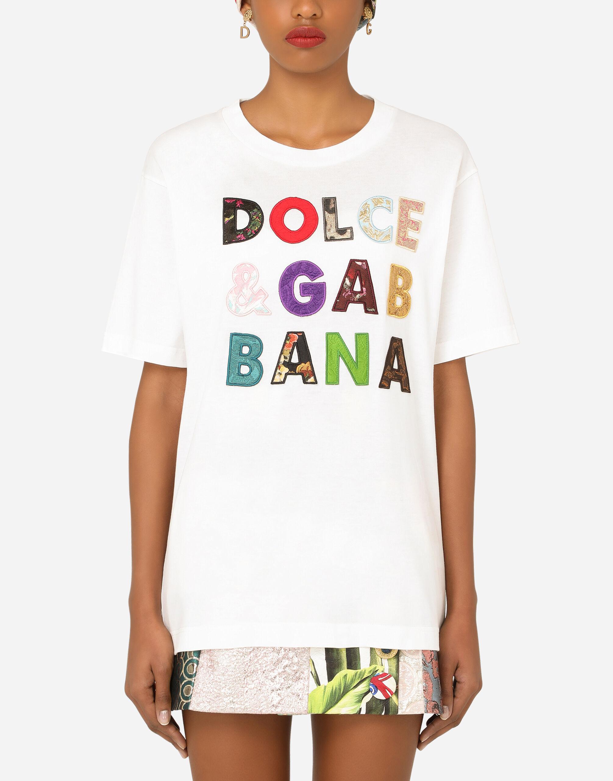 T-shirt maniche corte in jersey con ricamo patchwork