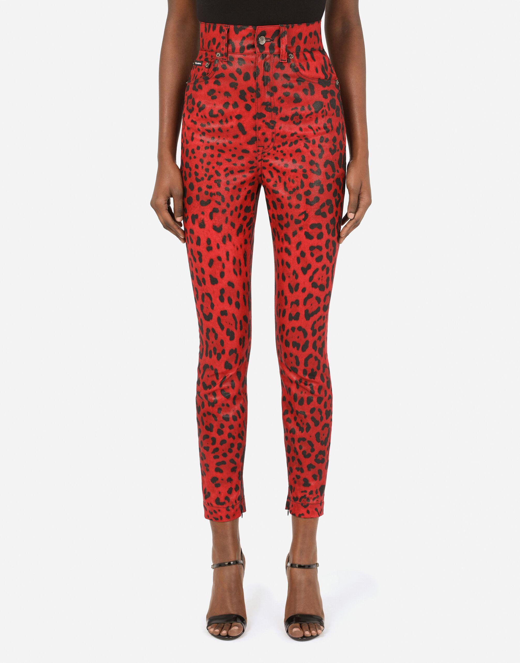 Jeans in drill stampa leopardo