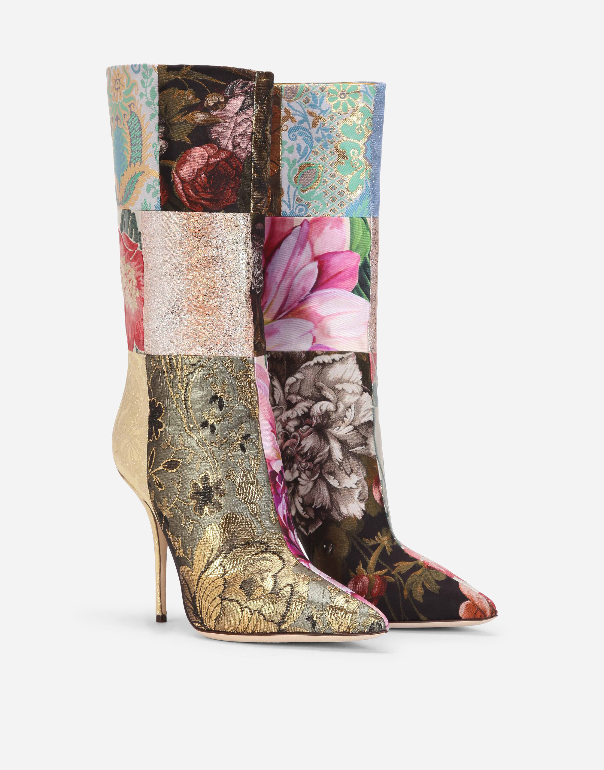 Patchwork fabric ankle boots