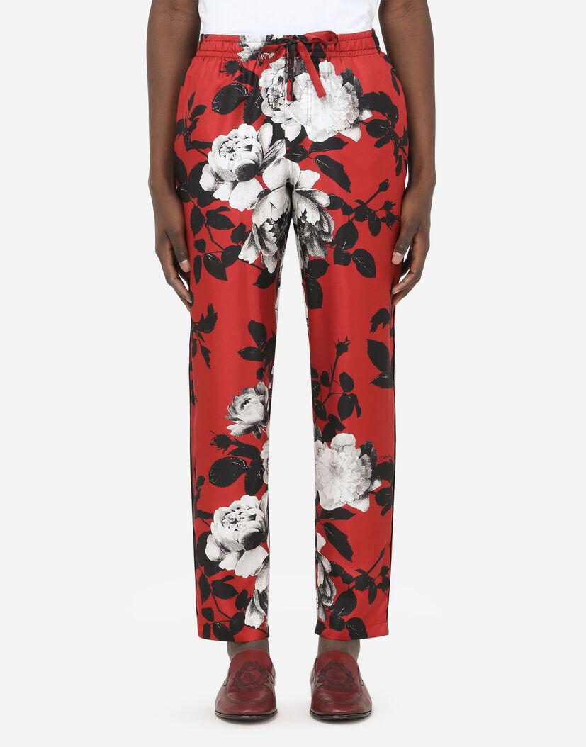 Pantalones Hombre Dolce Gabbana Pantalones Pijama De Seda Con Estampado Camelias