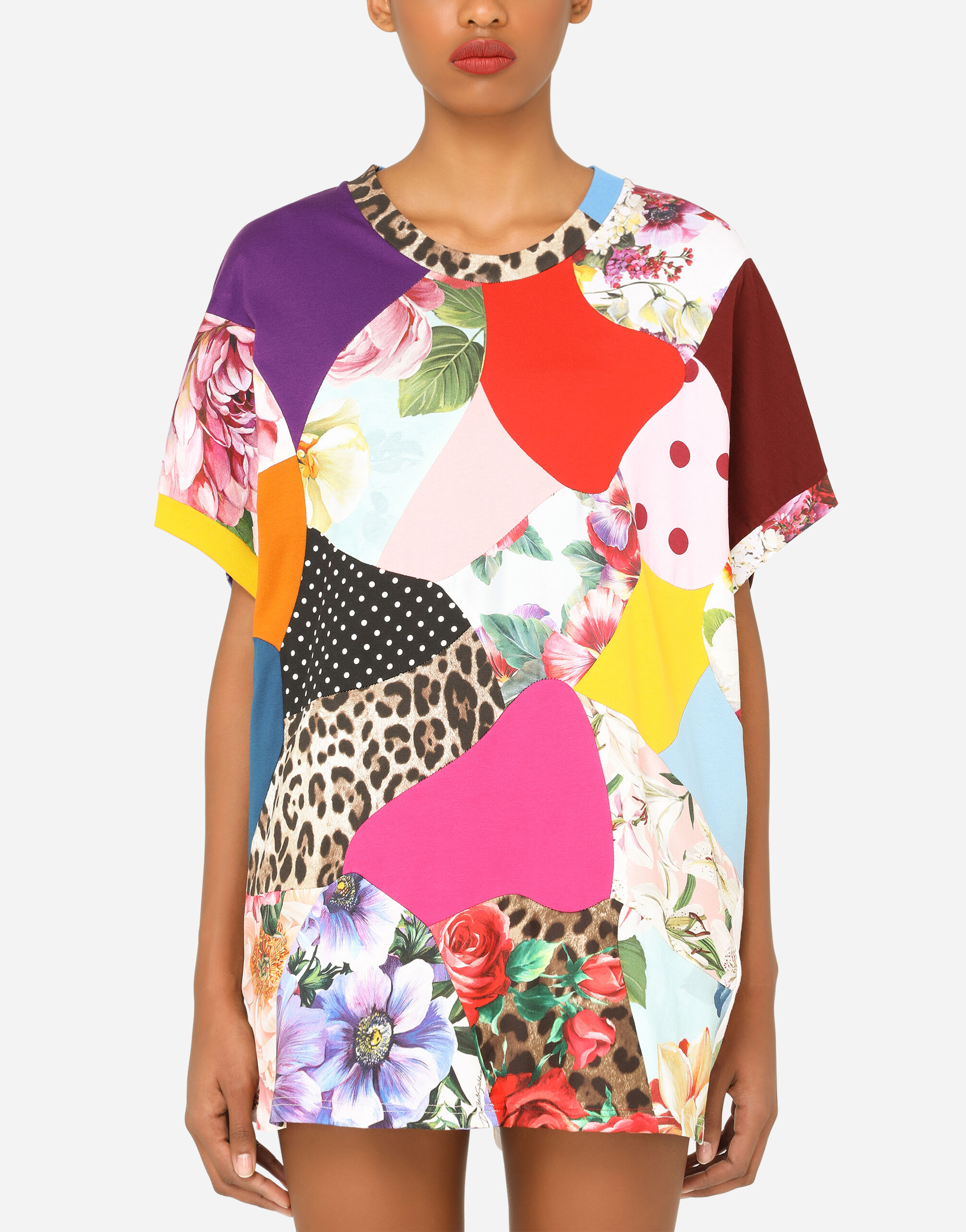 T-shirt in jersey stampato patchwork