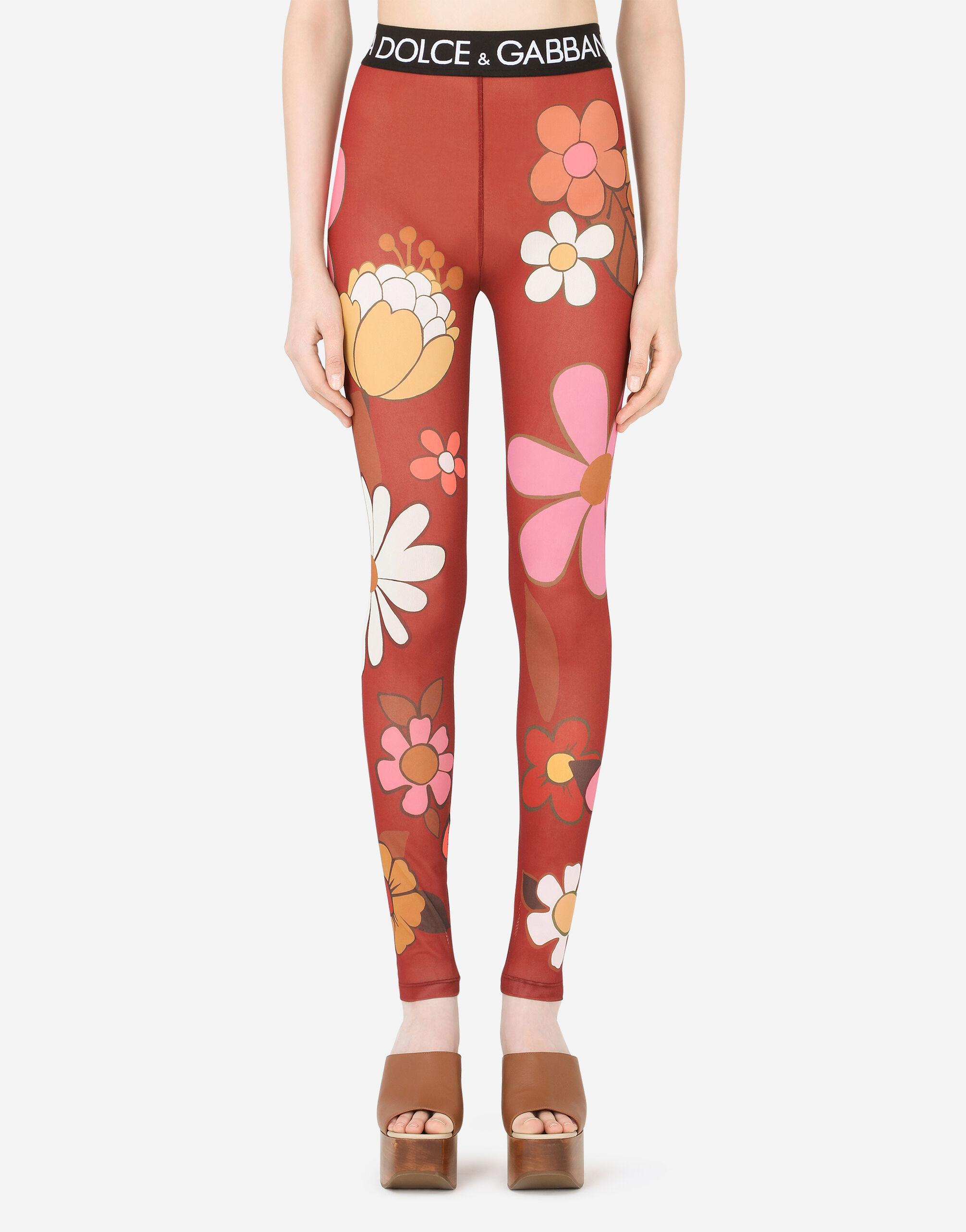 Leggings in marquisette stampa fiore con elastico logato dolce & gabbana