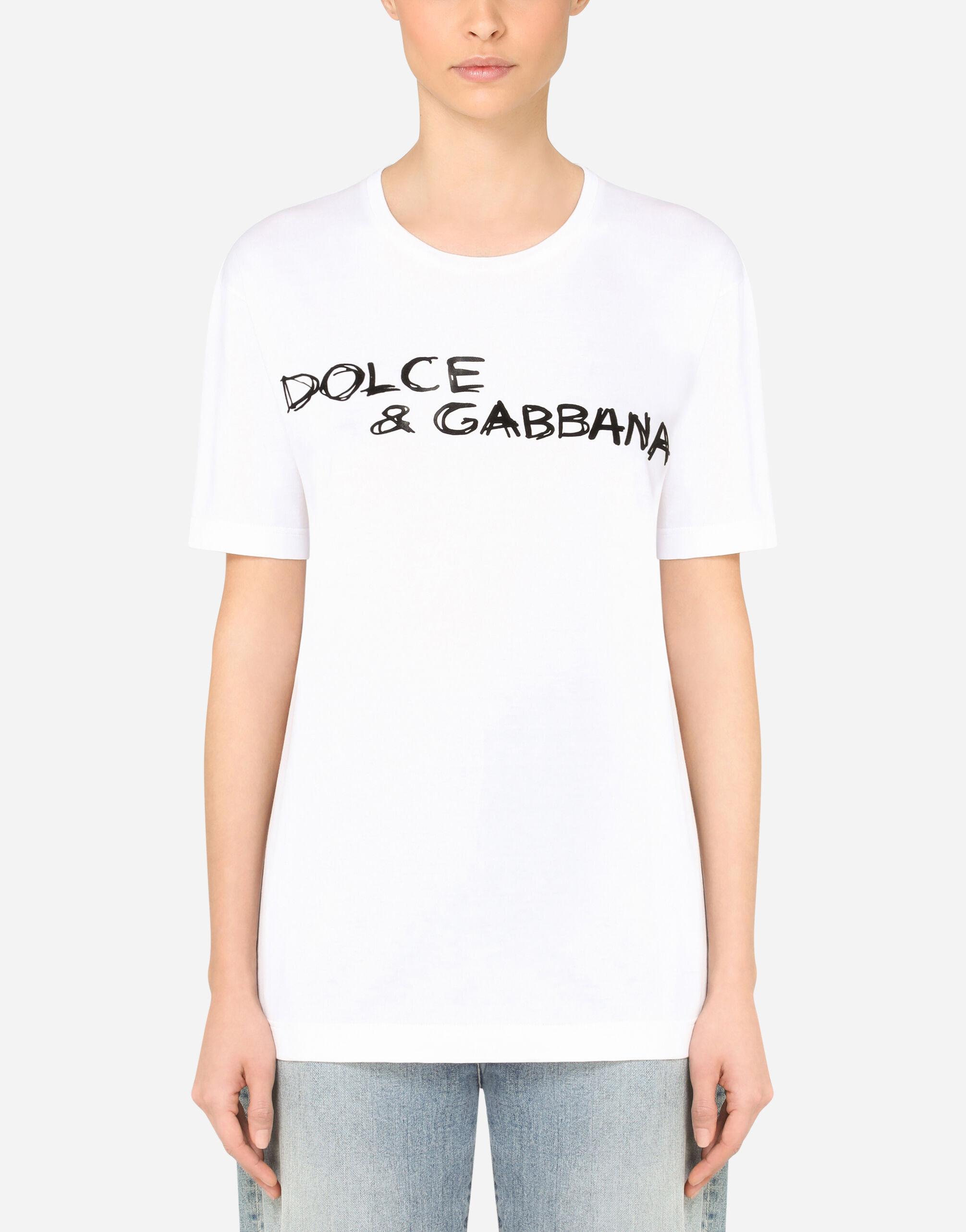 T-shirt over maniche corte in jersey con scritta Dolce & Gabbana